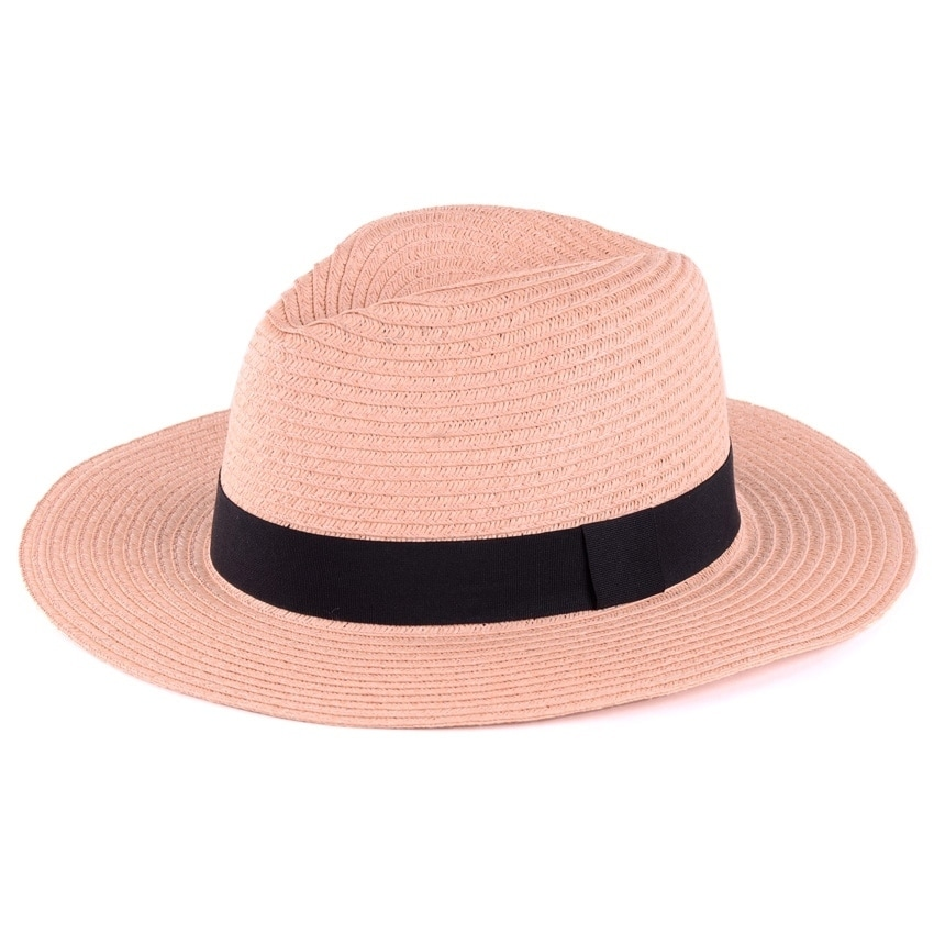 299d759828a6b Shop BYOS Summer Classic Straw Panama Fedora Sun Hat In Solid Color W  Black  Grosgrain Band Trim - On Sale - Free Shipping On Orders Over  45 -  Overstock - ...