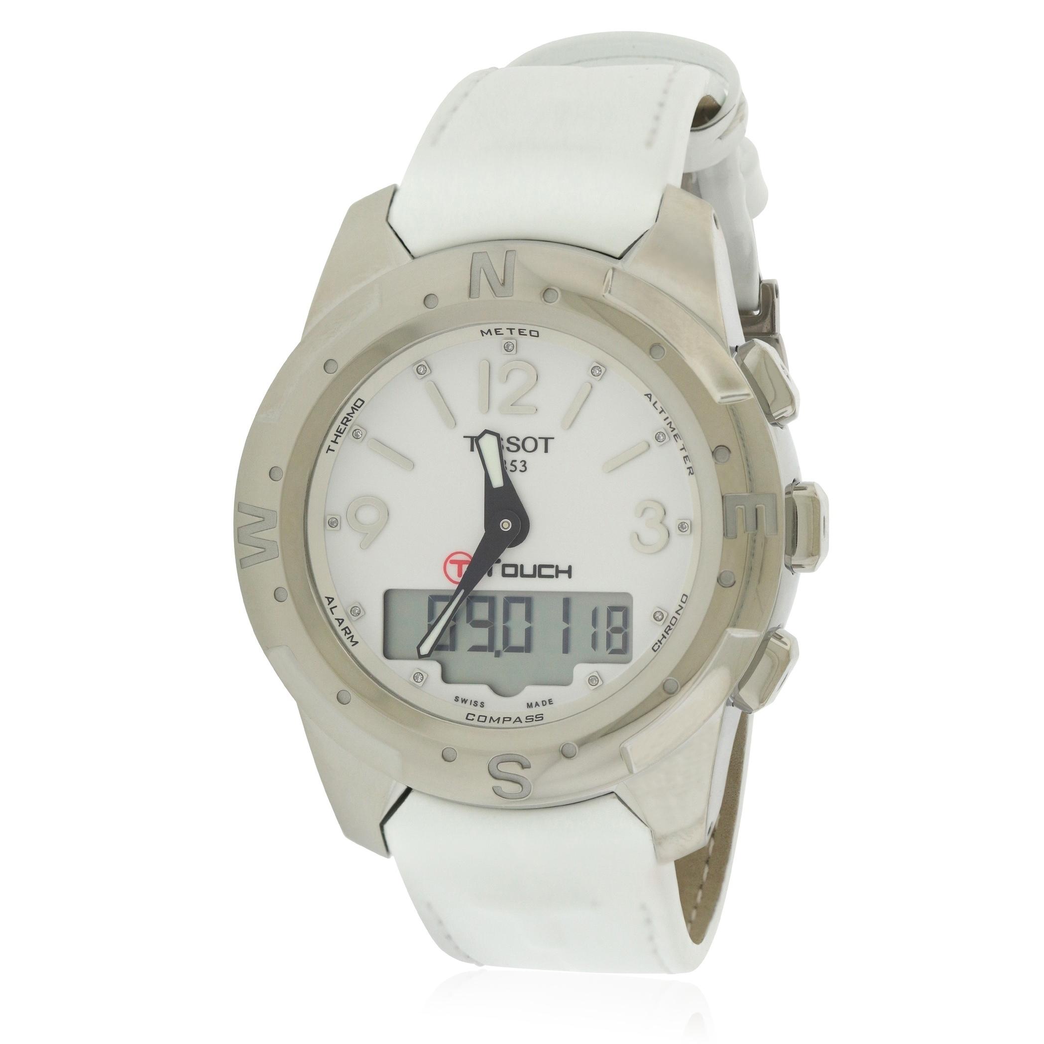 624f868ba99 Shop Tissot T-Touch II Titanium Perpetual Leather Diamond Ladies ...
