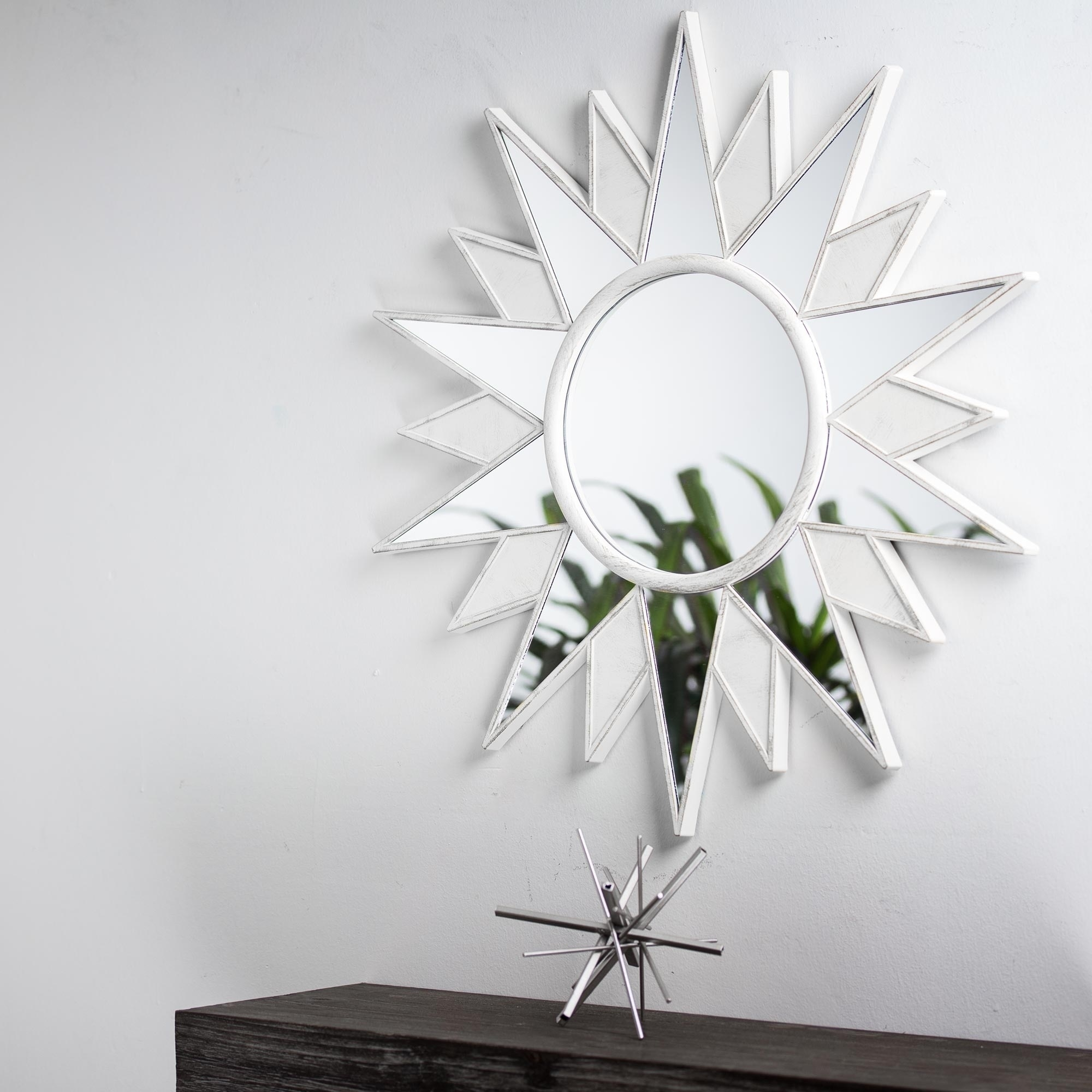 White Framed Art Deco Sunburst Starburst Hanging Vanity Wall Mirror ...