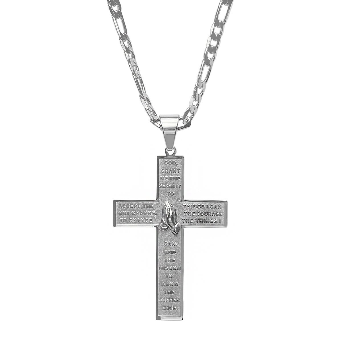 Shop steeltime mens stainless steel serenity prayer cross pendant shop steeltime mens stainless steel serenity prayer cross pendant on a figaro chain in 2 colors free shipping on orders over 45 overstock aloadofball Choice Image