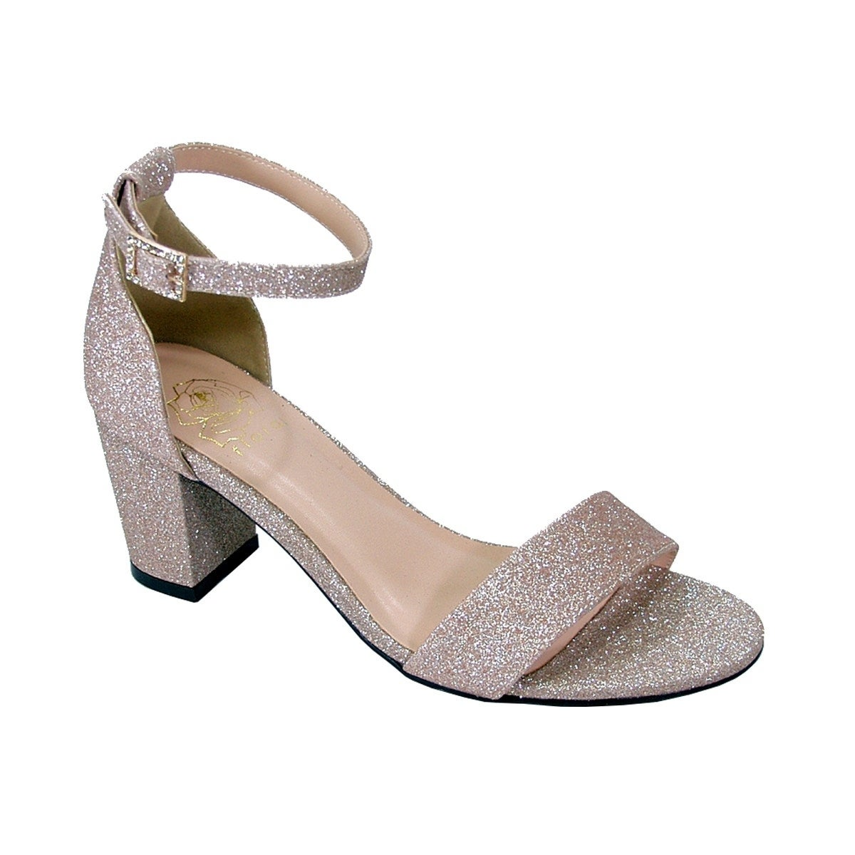 6244b8a6cd9 Shop FLORAL Adele Women Wide Width Satin Glittery Block Heel Party ...