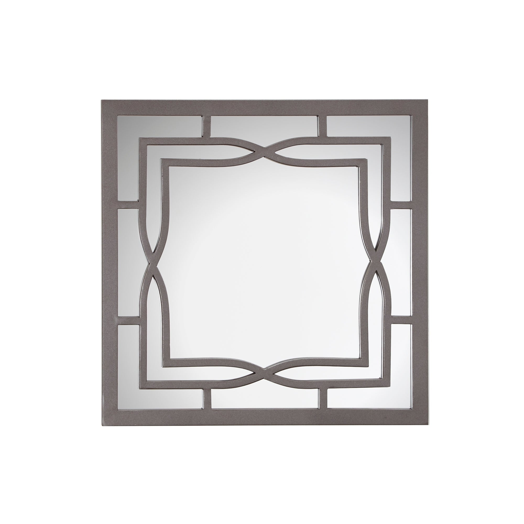 Shop Alicia Square Wall Mirror with Decorative Metal Frame - Gun ...