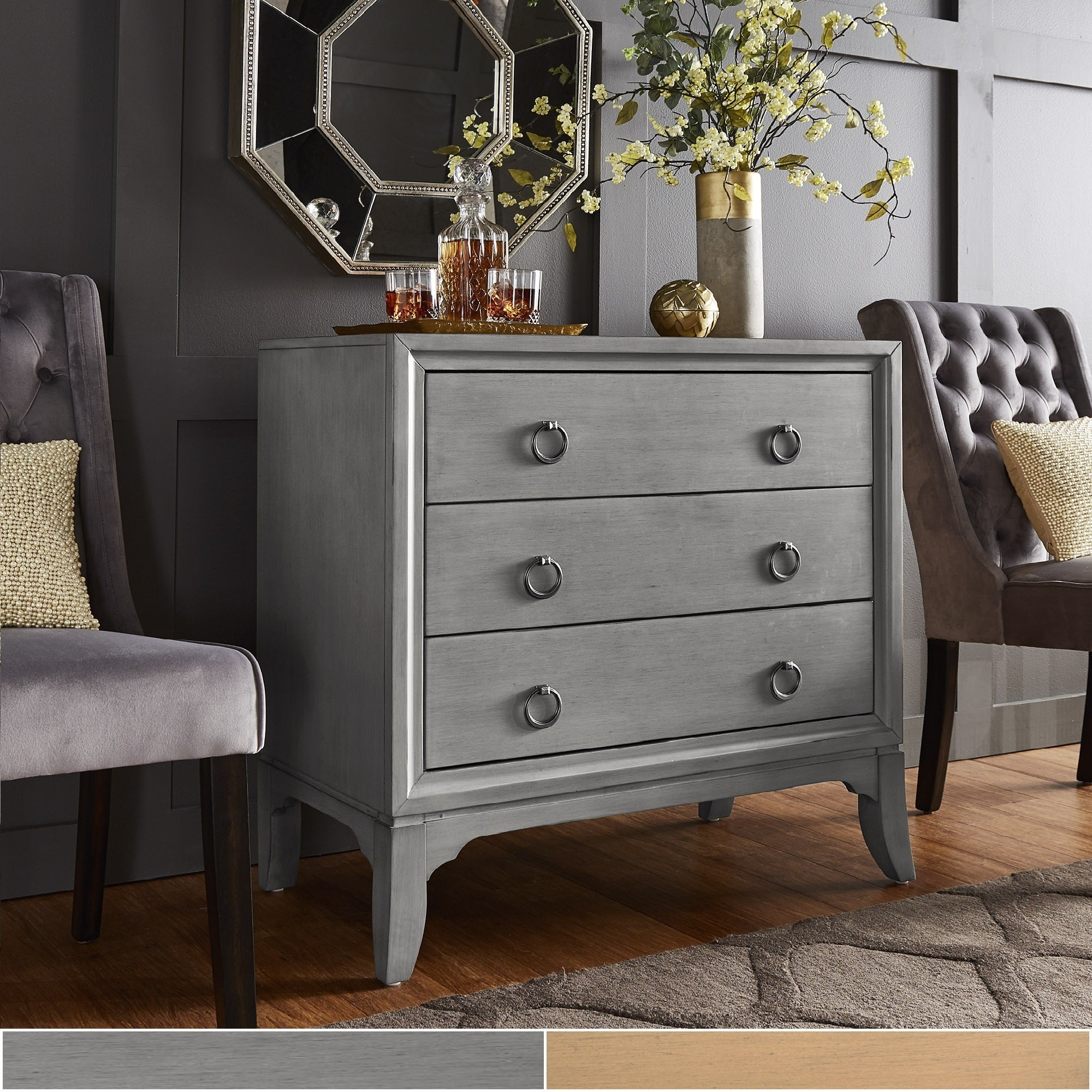 Shop Whitney 3-Drawer Antique Ring Pull Chest by iNSPIRE Q Classic ...