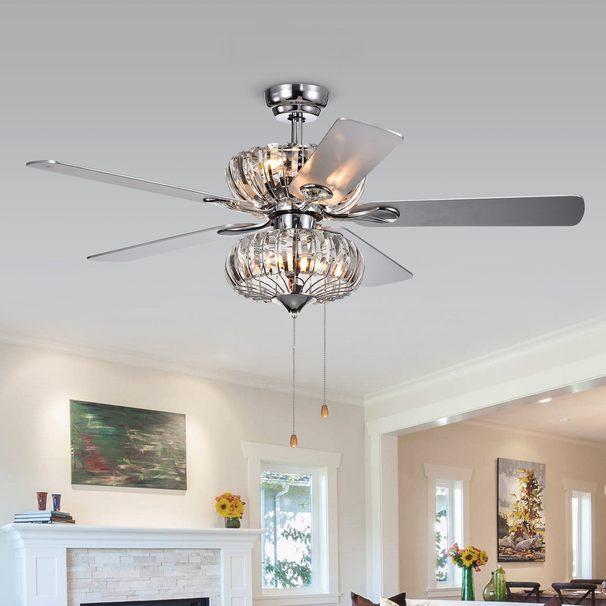 Kyana 6 light Crystal 5 blade 52 inch Chrome Ceiling Fan Remote