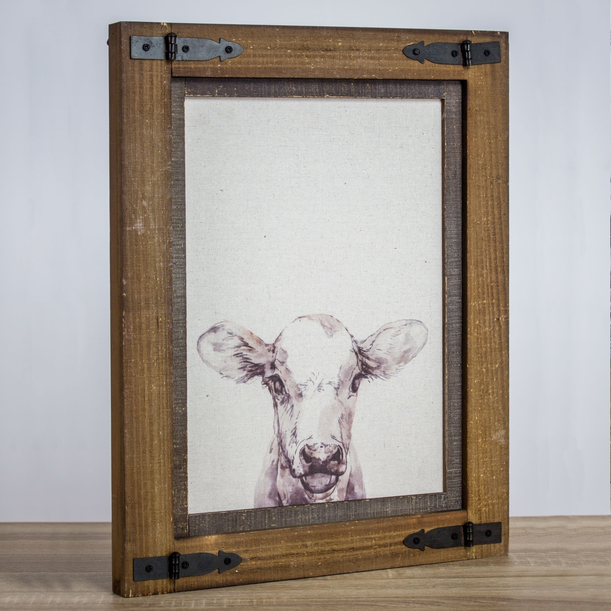 Bon Shop American Art Decor Rustic Wood Framed Cow Canvas Print Farmhouse Decor    Free Shipping Today   Overstock.com   20033407