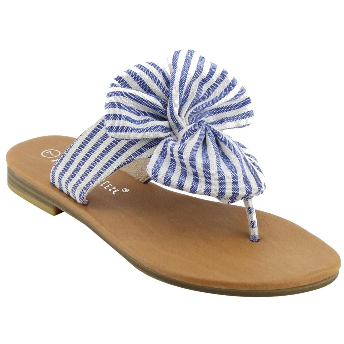 c3402cf7184f Shop NATURE BREEZE EM13 Women s Striped Bow Thong Flip Flop Flat ...