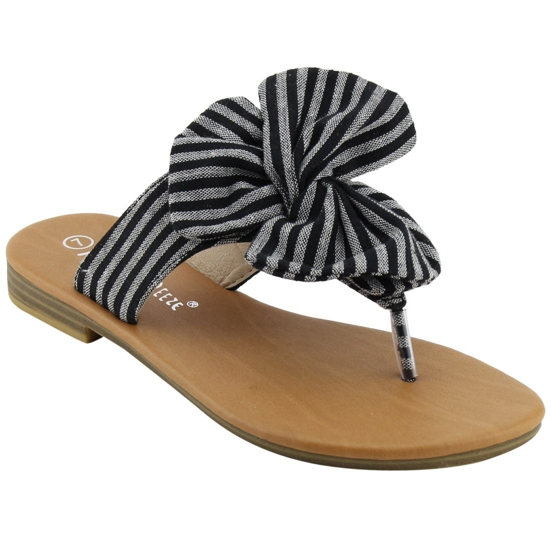 87d75518235e Shop NATURE BREEZE EM13 Women s Striped Bow Thong Flip Flop Flat Sandals -  Free Shipping On Orders Over  45 - Overstock - 20036963