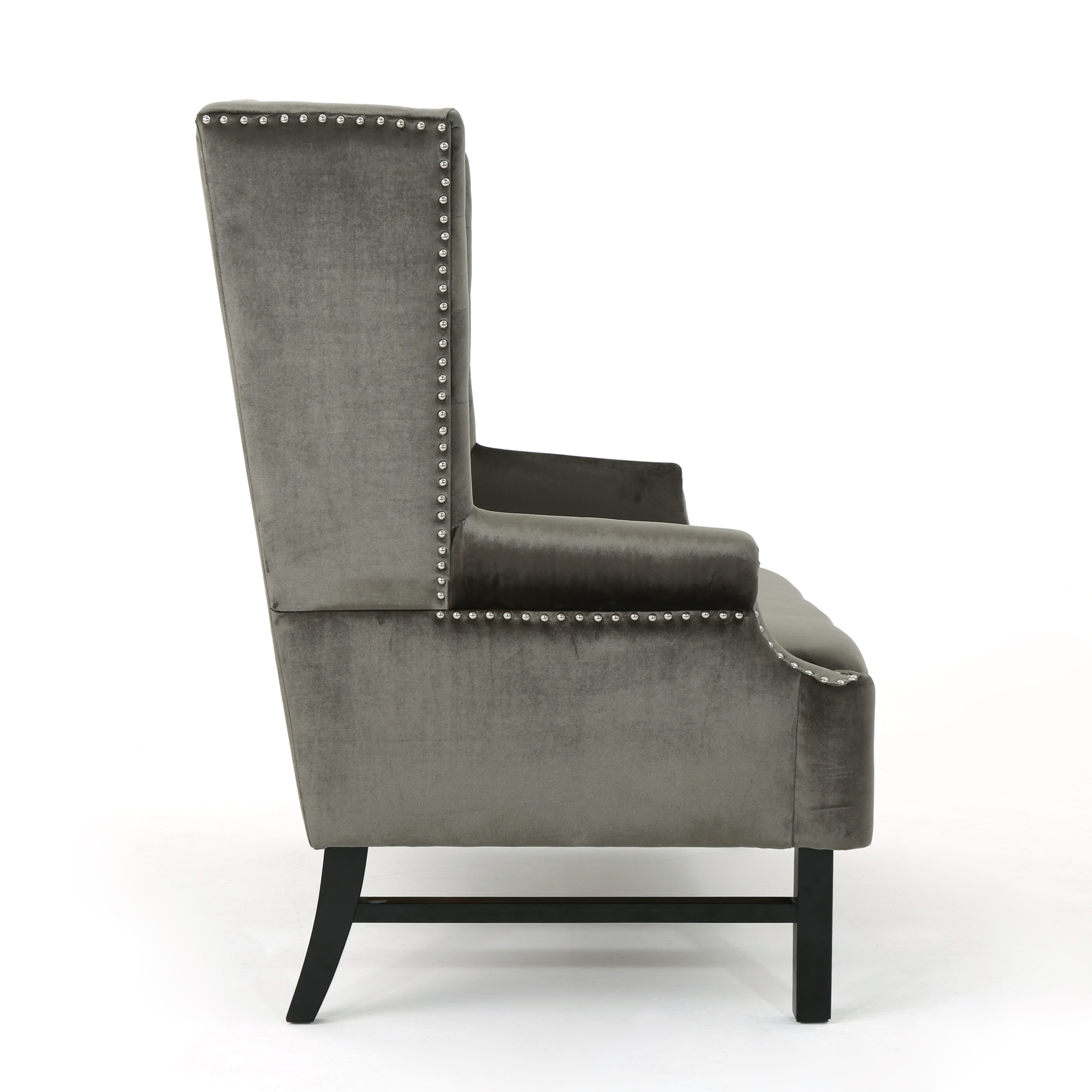 Nolie High Back Tufted Winged Velvet Loveseat By Christopher Knight Home On Free Shipping Today 20044974