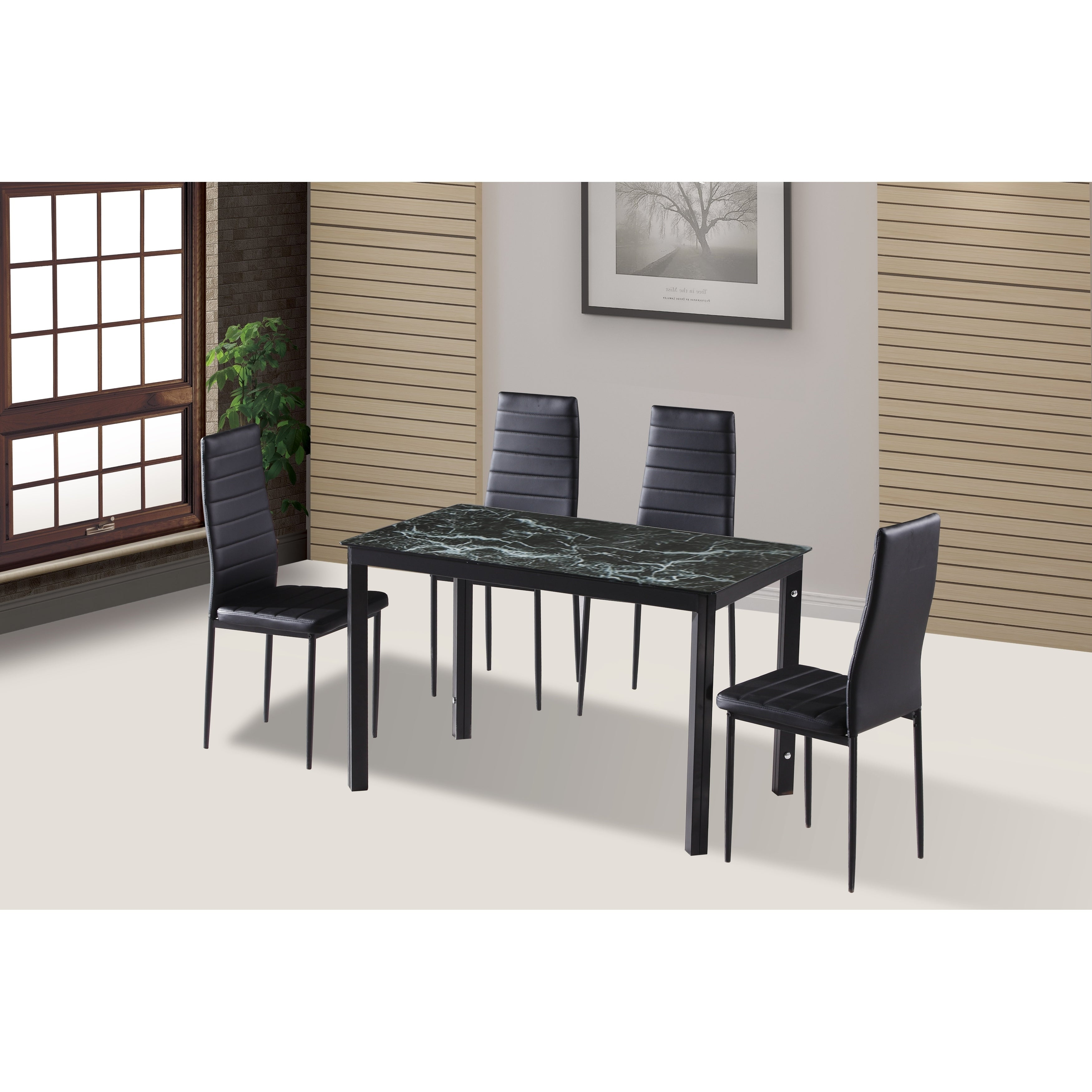 Shop IDS Home 7 Pieces Modern Glass Dining Table Set Faxu Leather With 6  Chairs Black.   On Sale   Free Shipping Today   Overstock.com   20045342