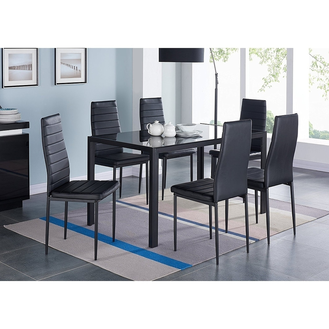 IDS Home 7 Pieces Modern Glass Dining Table Set Faxu Leather With 6 Chairs  Black. f5ee65379