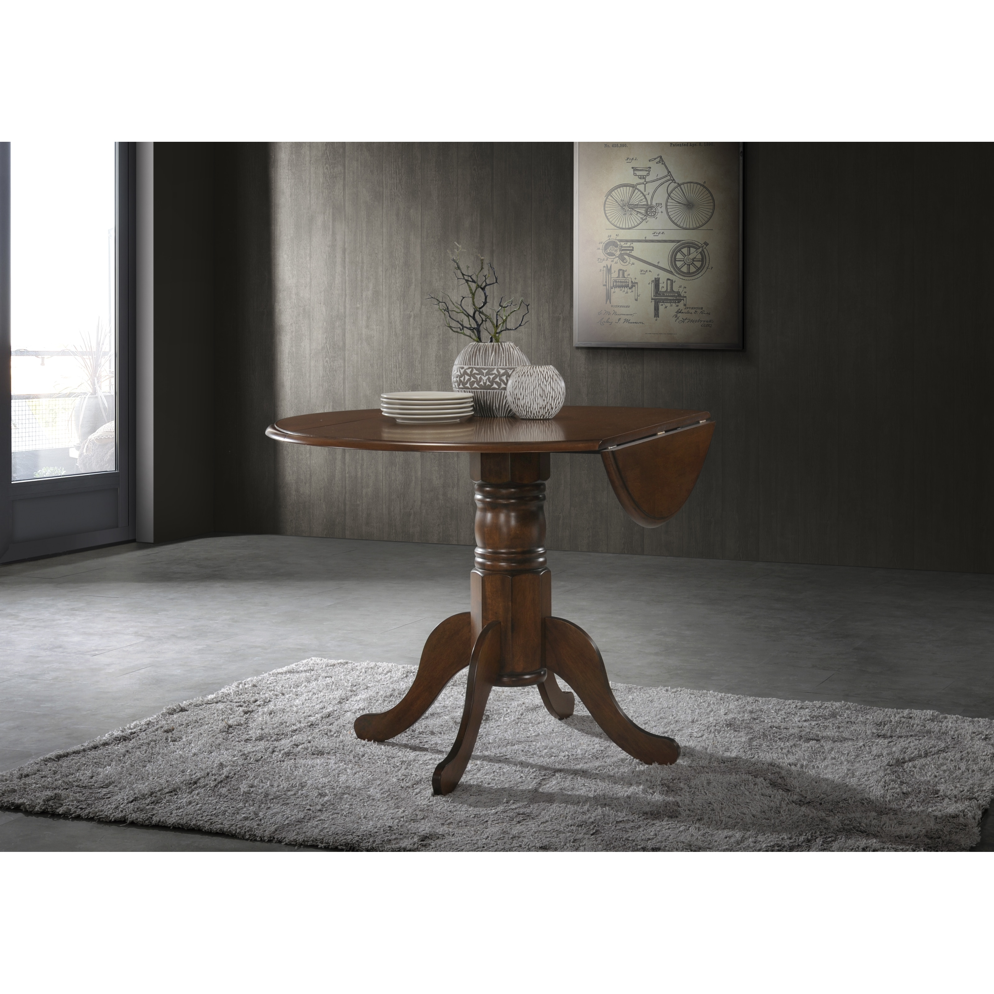 Shop 42 Inch Round Dual Drop Leaf Pedestal Table Free Shipping
