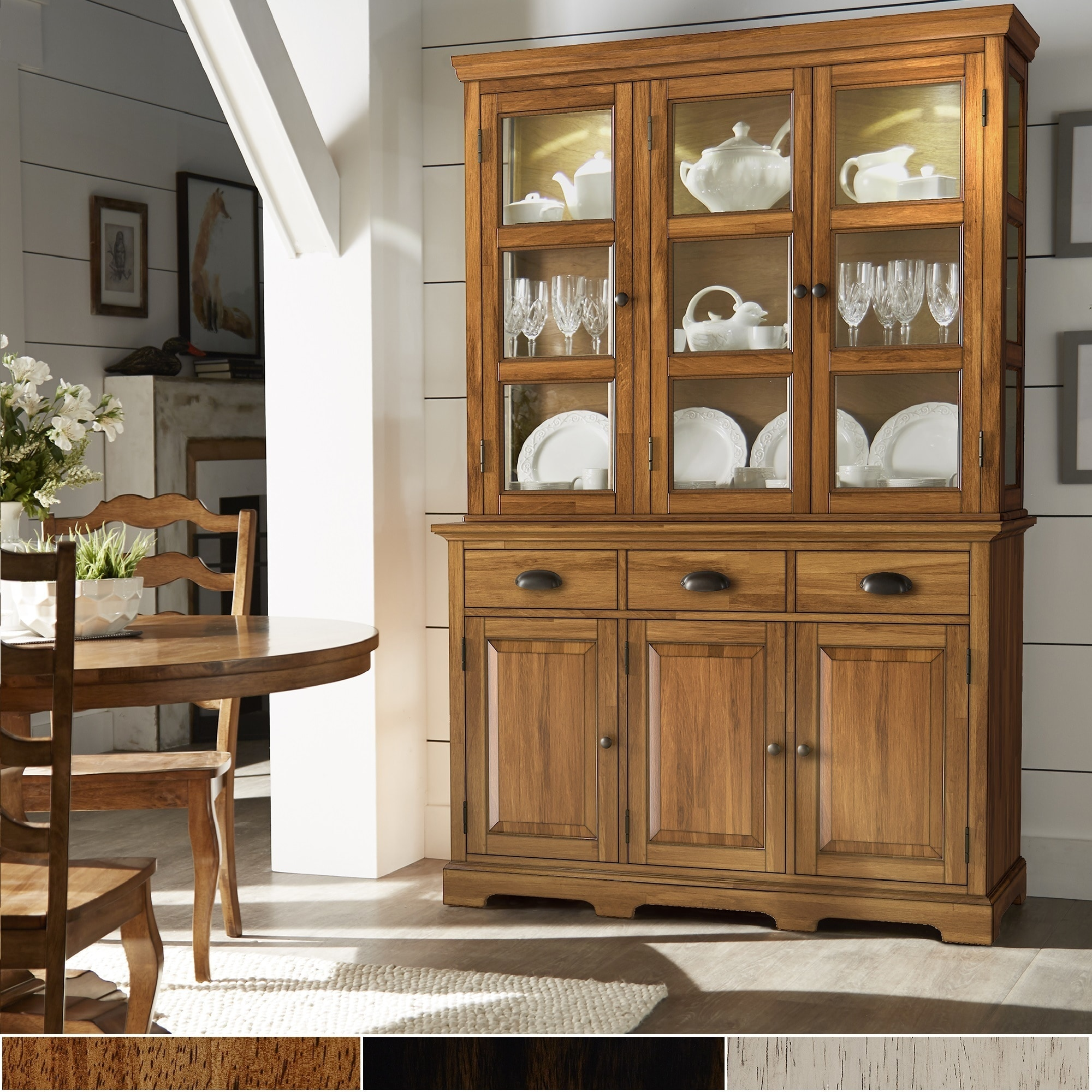 shop eleanor two tone wood buffet server and hutch by inspire q rh overstock com buffet server with hutch white small buffet server with hutch