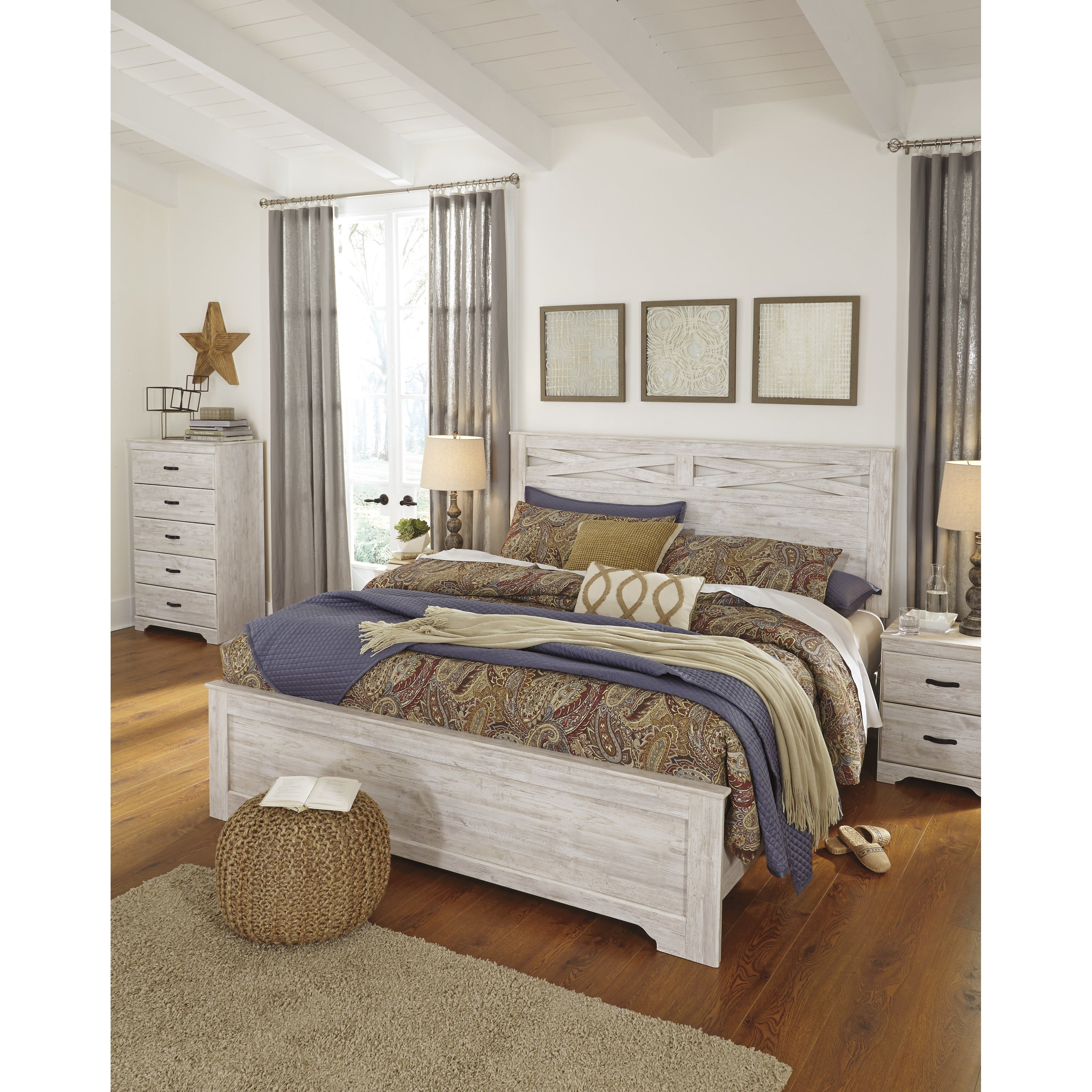 Shop Briartown Whitewash Panel Headboard Free Shipping Today