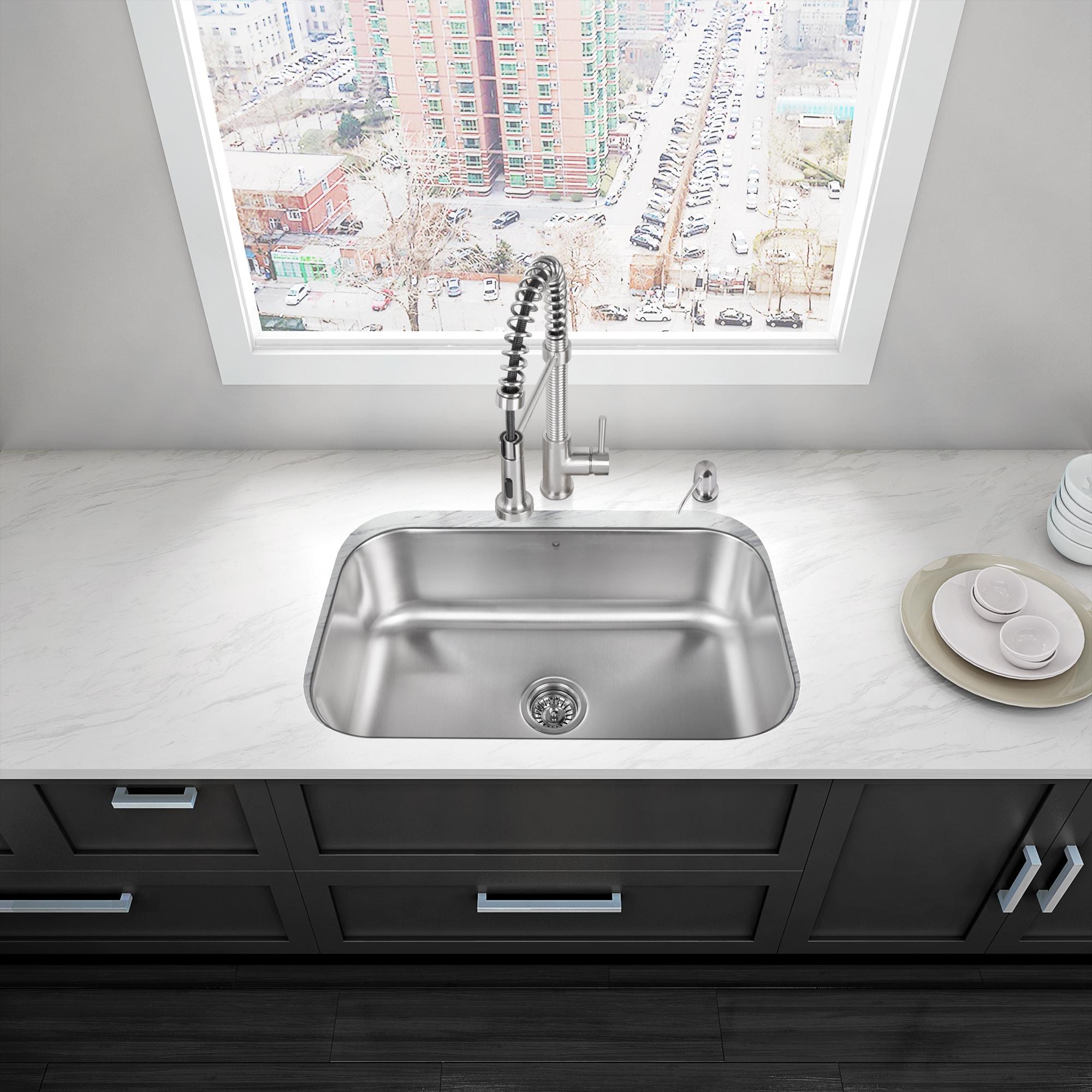 VIGO 30-inch Undermount Stainless Steel 18 Gauge Single Bowl Kitchen ...