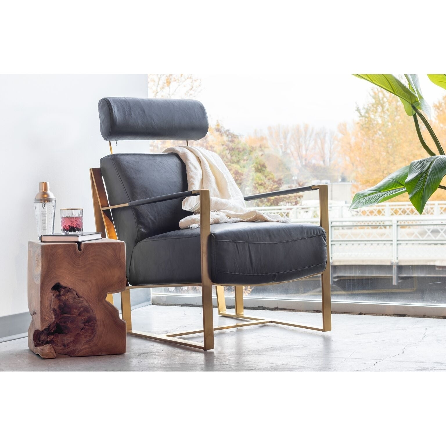 Aurelle Home Modern Gold And Black Rustic Leather Chair