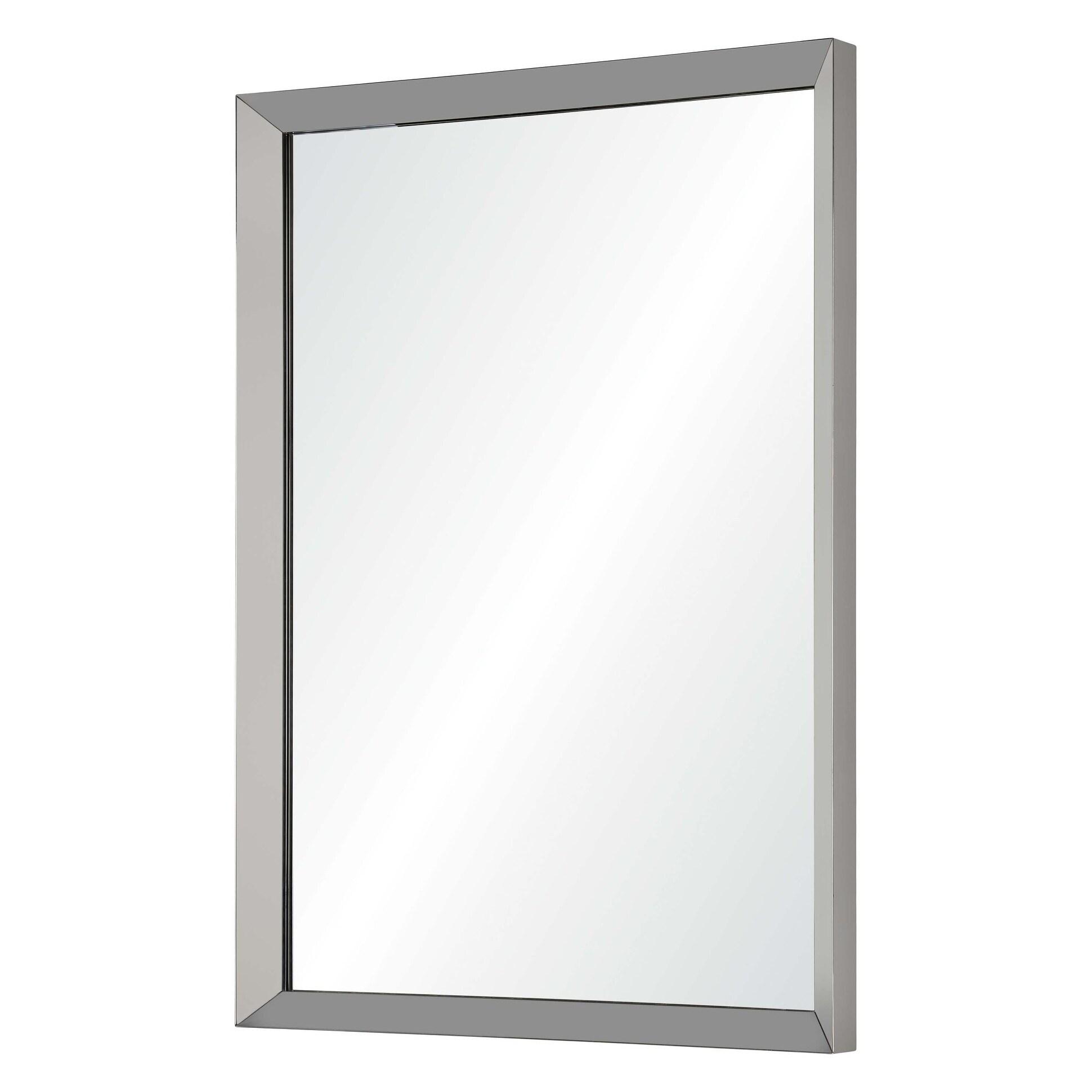 Shop Villette Framed Rectangular Wall Mirror Satin Nickel On