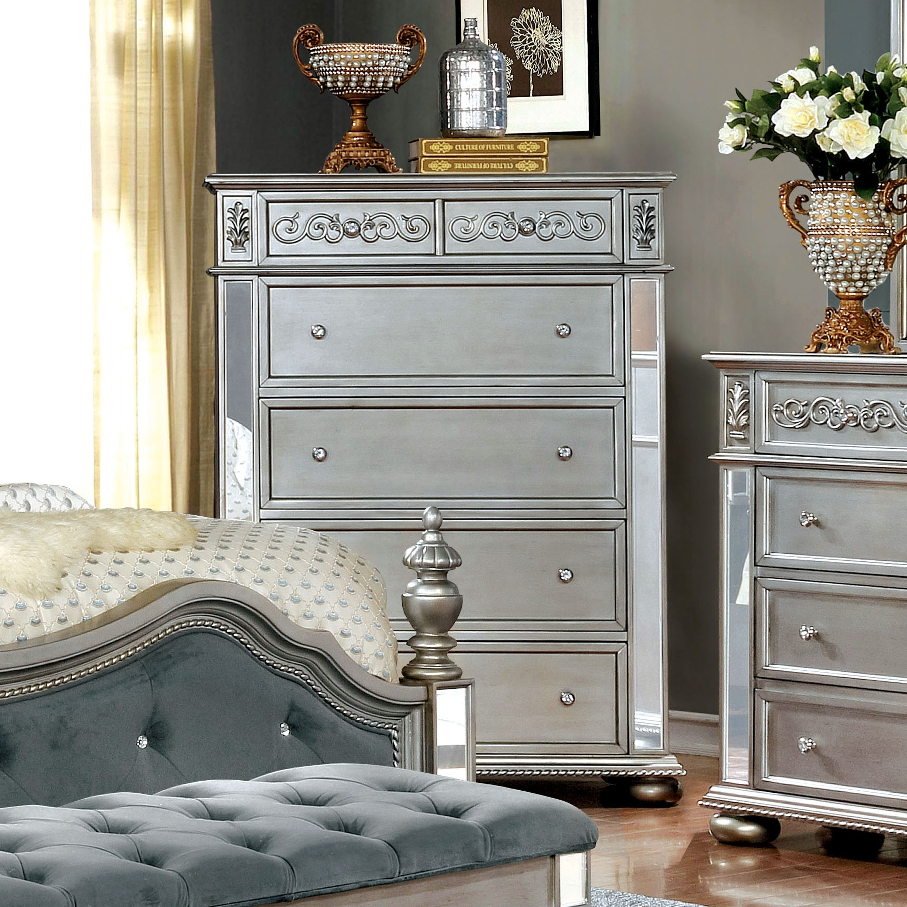 Furniture of america joliet traditional 5 drawer chest