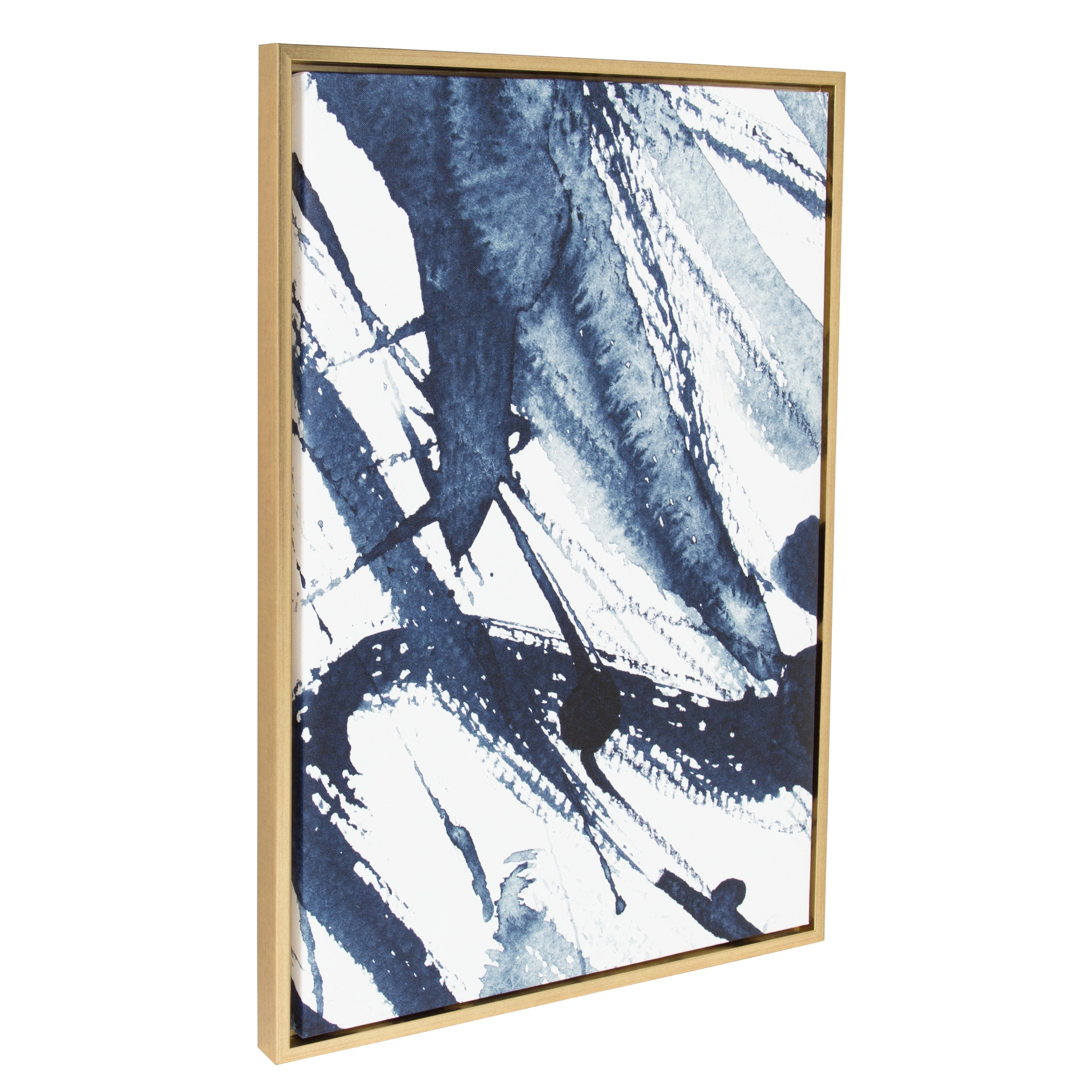 Shop Sylvie Indigo Watercolor Abstract Print Framed Canvas Wall Art ...