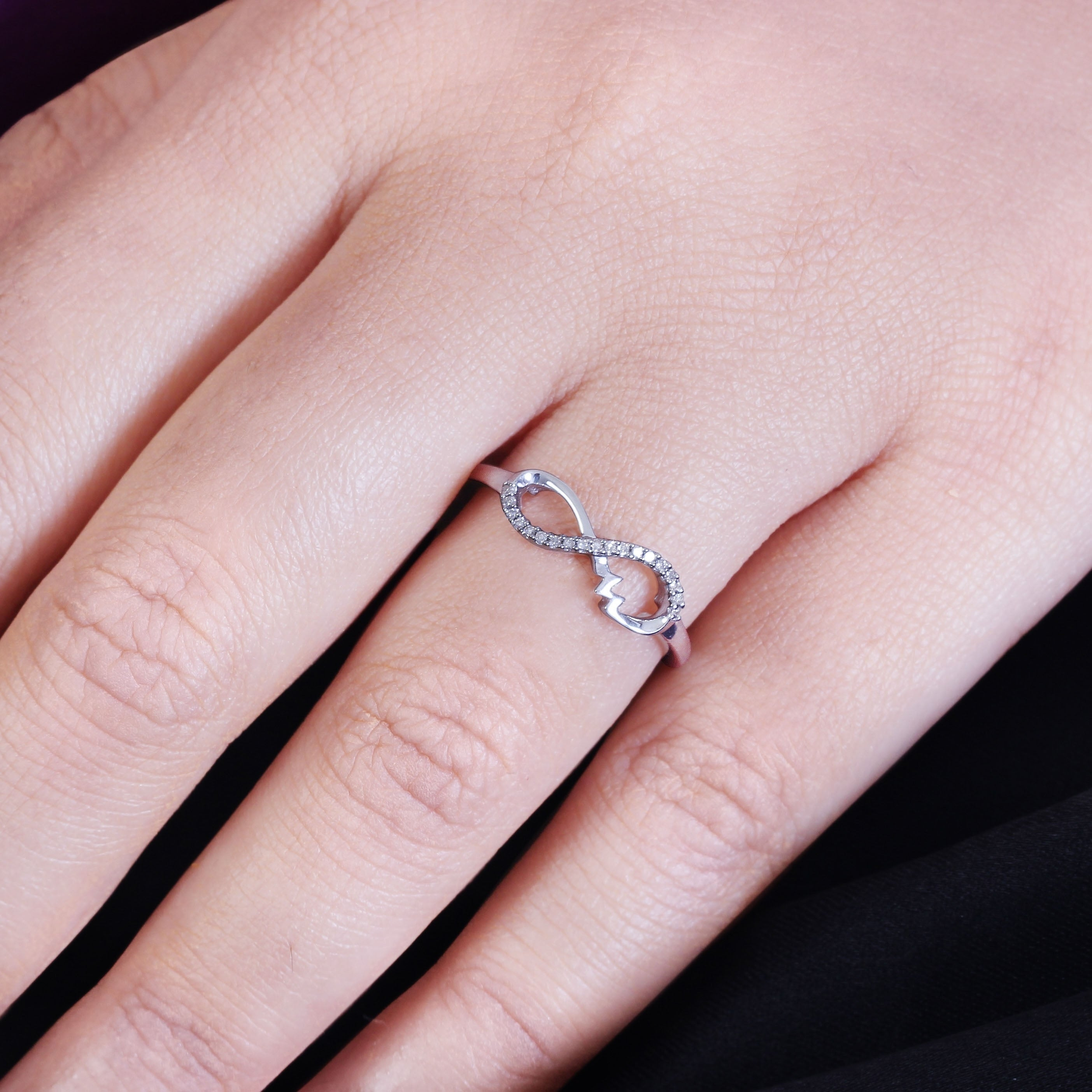 Cali Trove 1/20 Ct Round Diamond Infinity Vibes Fashion Ring In ...