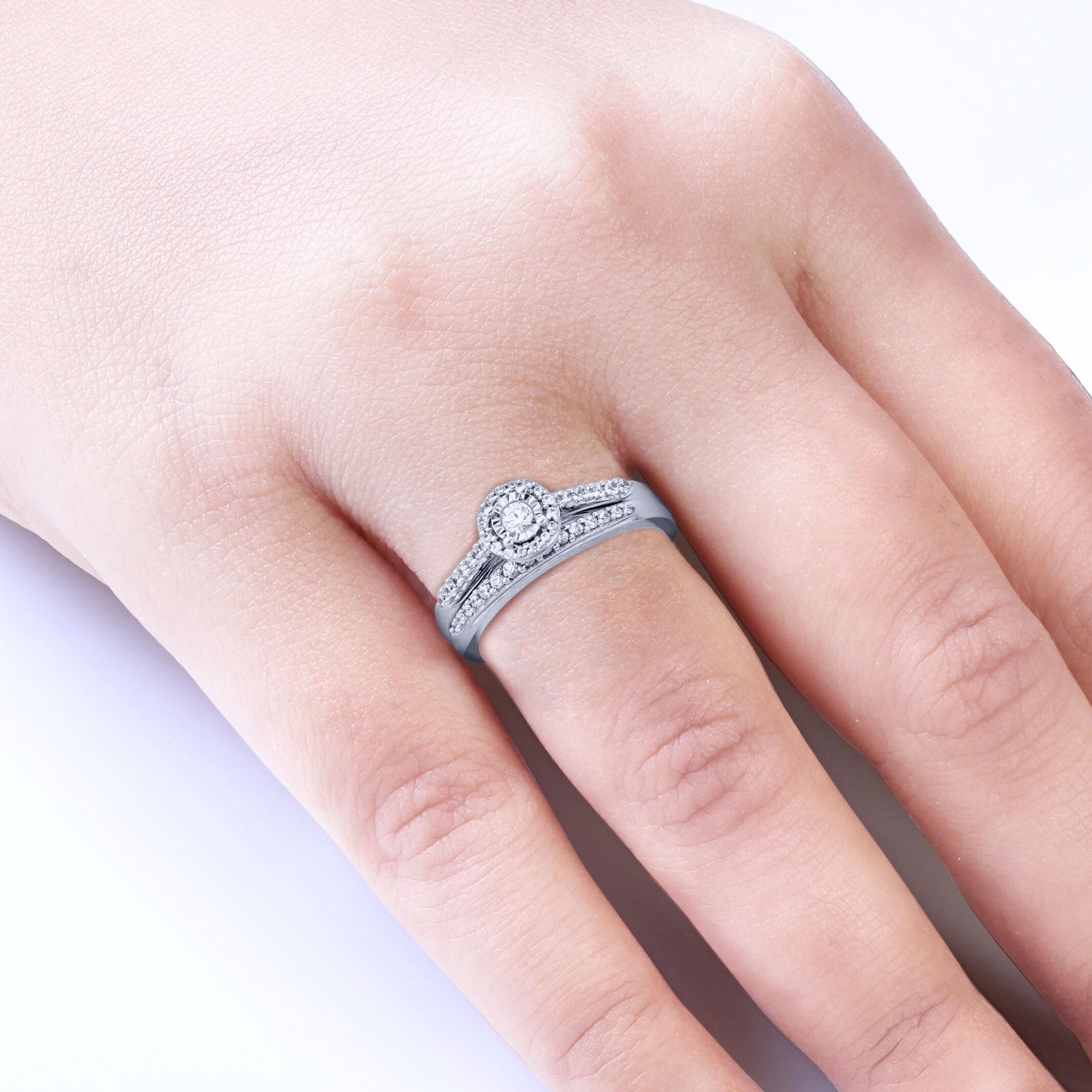 Cali Trove 1/3 Ct Round White Diamond Engagement Wedding Set In 10kt ...