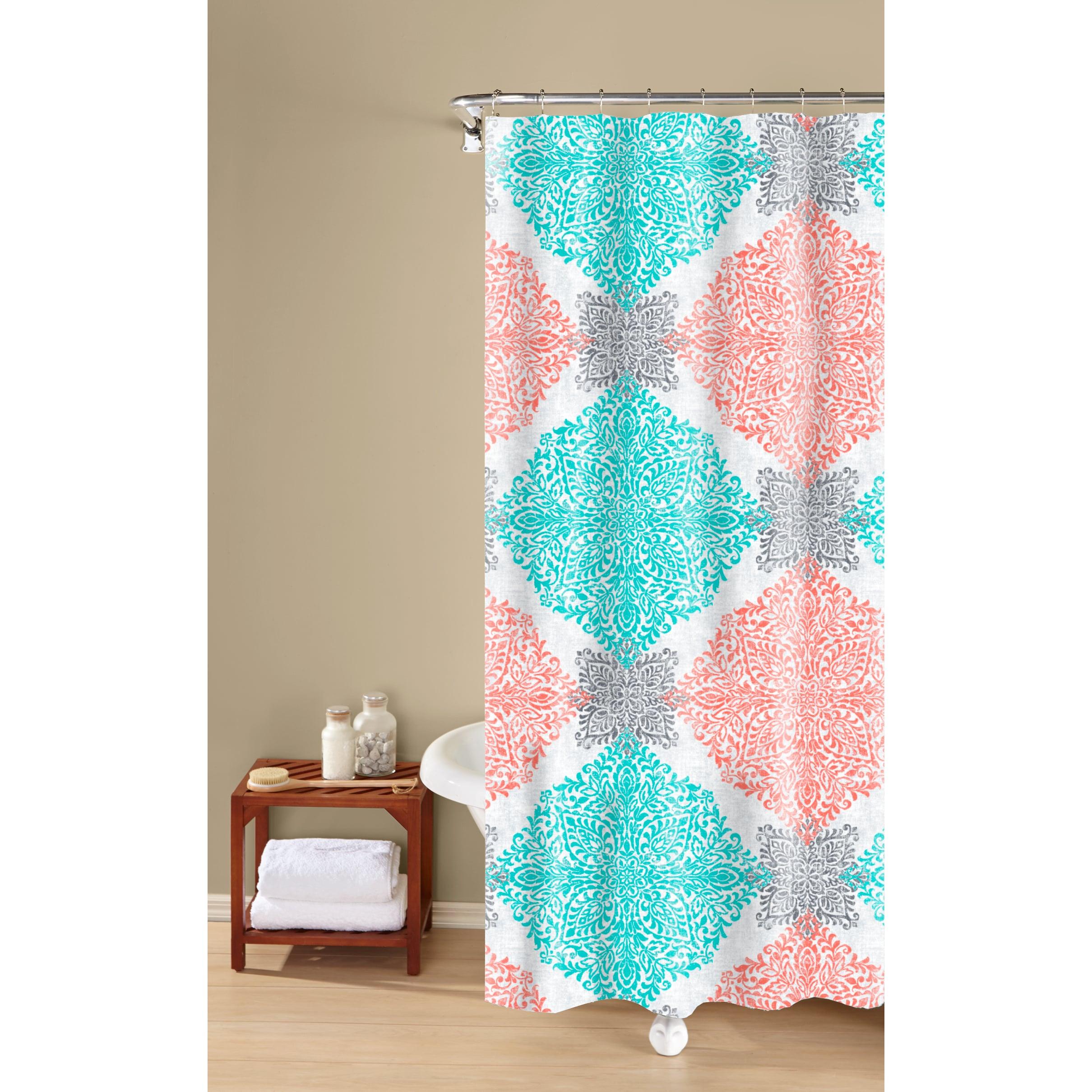 Shop Ava Medallion Print Textured Fabric Easy Care Shower Curtain