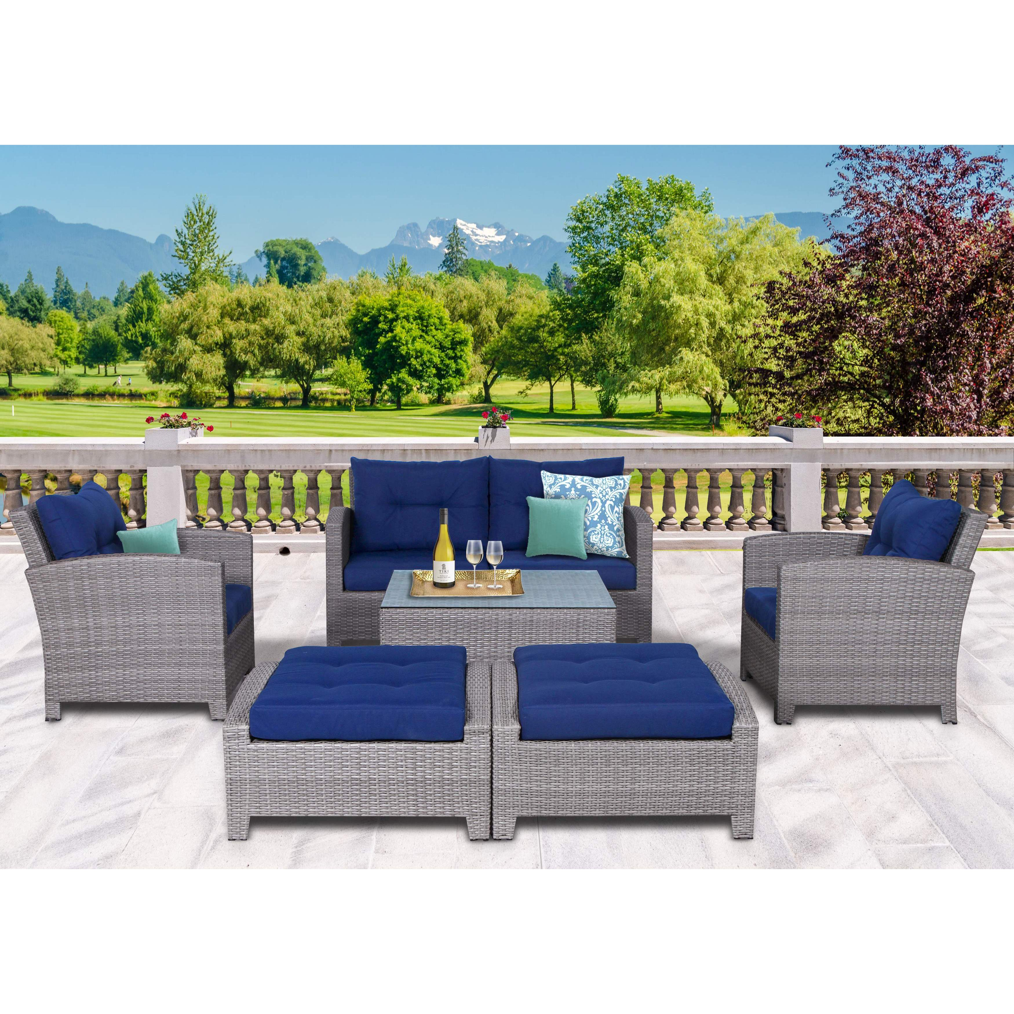 Stamford 7 Piece Olefin Conversation Set - Free Shipping Today ...
