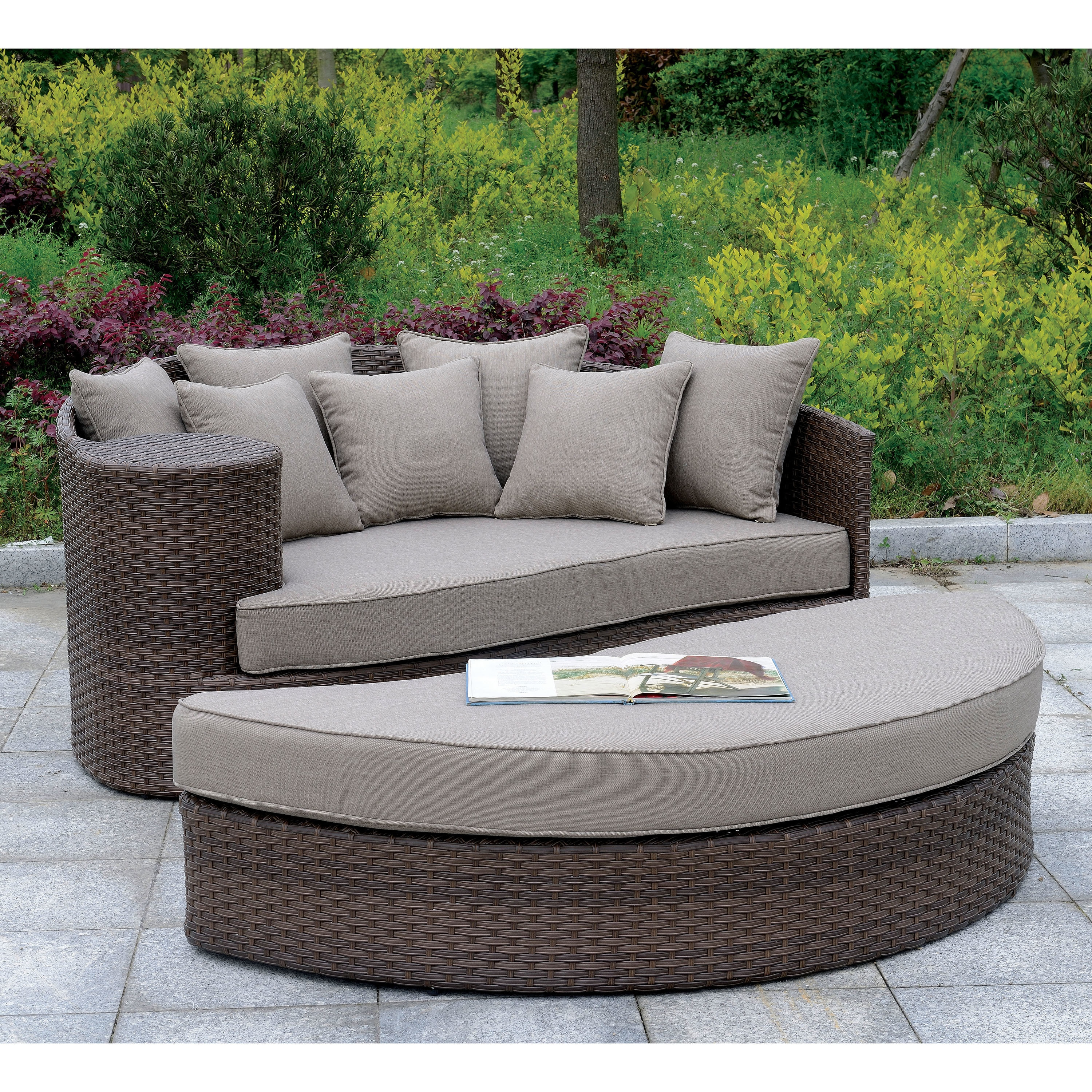 Attractive Shop Furniture Of America Felina Contemporary Brown Weather Resistant Round  Patio Sofa With Ottoman   Free Shipping Today   Overstock.com   20108102