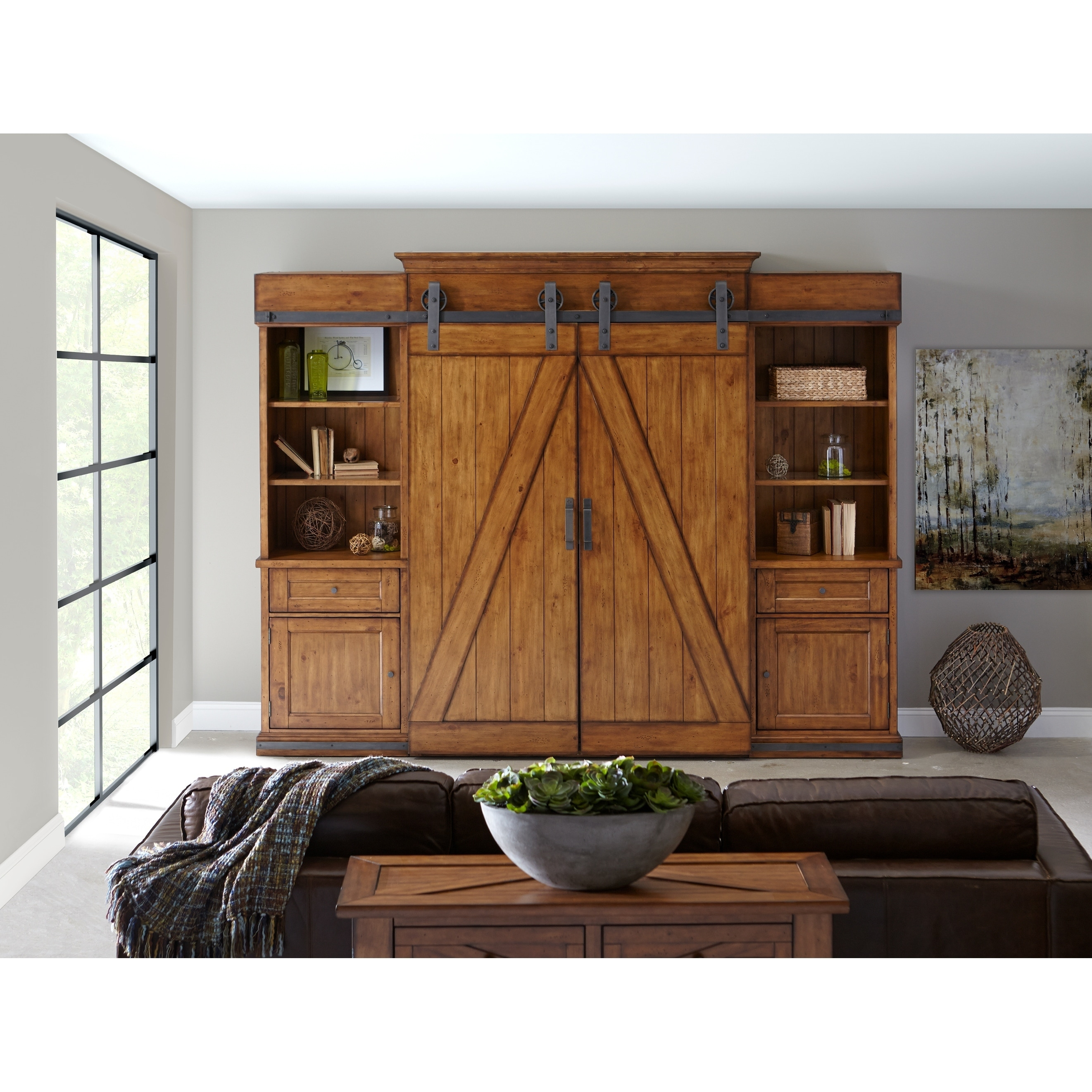 Shop Harper Farm Rustic Warm Pine Barn Door Entertainment Console   Free  Shipping Today   Overstock.com   20108319