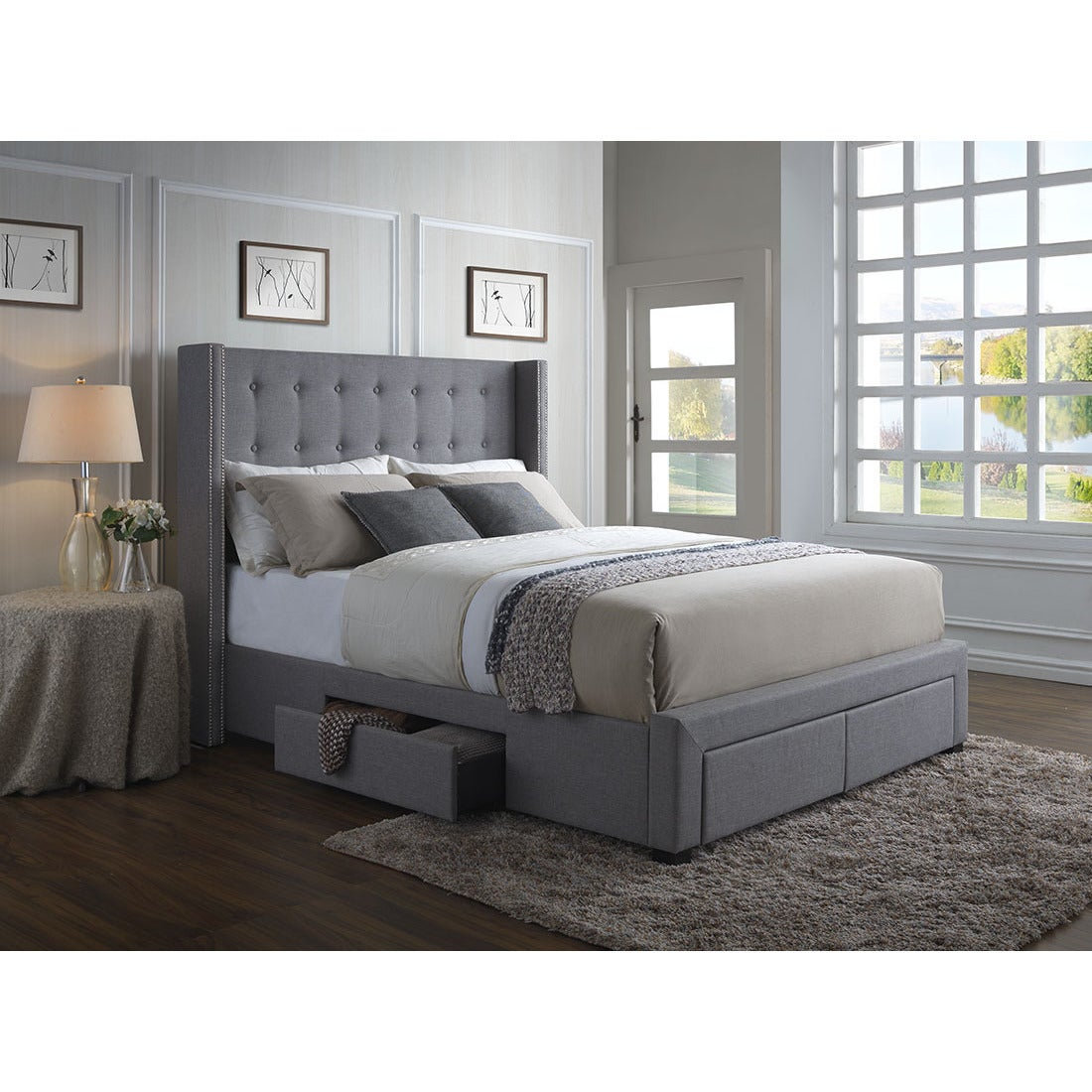 Strick bolton roth grey linen wingback storage bed