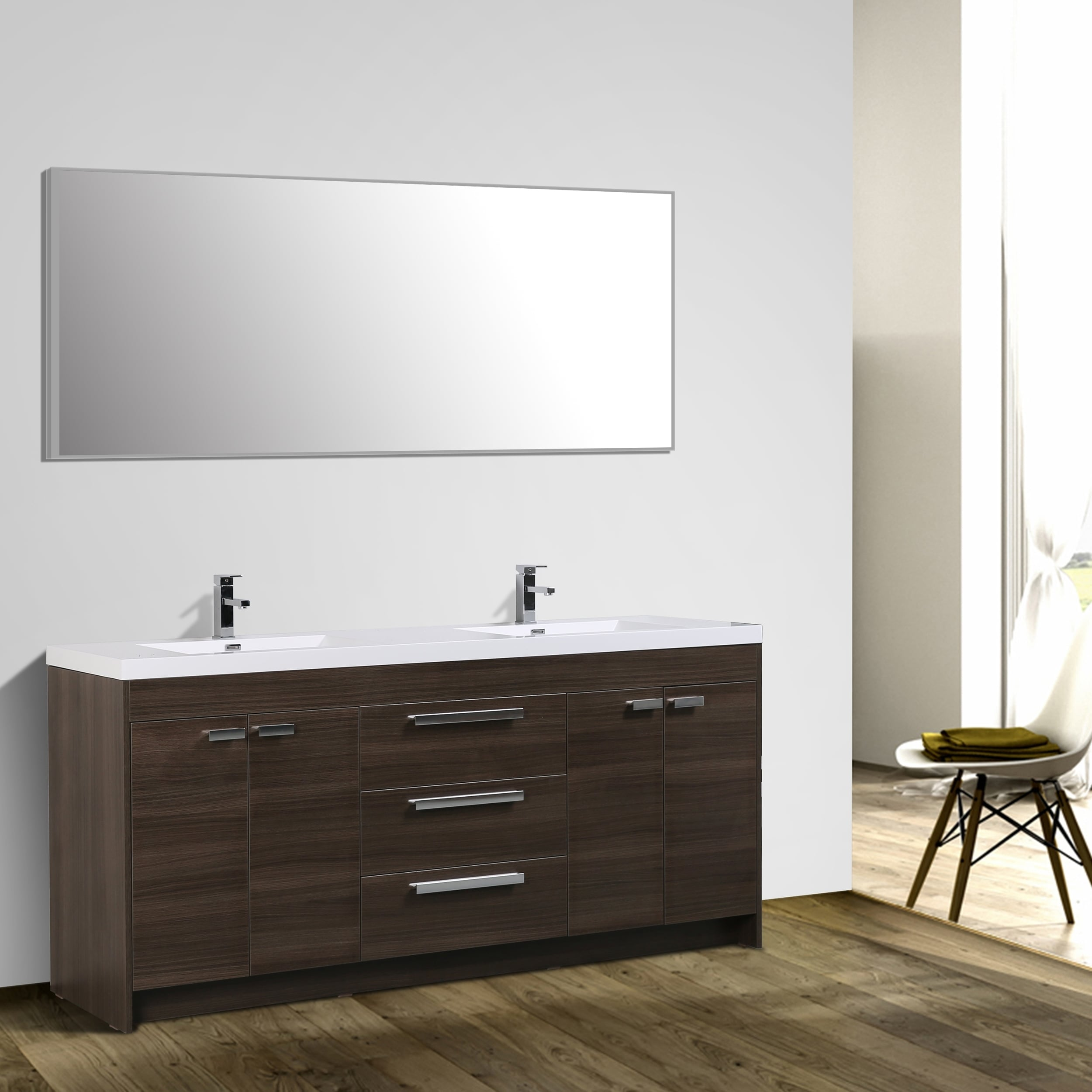 Shop Eviva Lugano Grey Oak Bathroom Vanity Free Shipping Today - 84 bathroom vanities and cabinets
