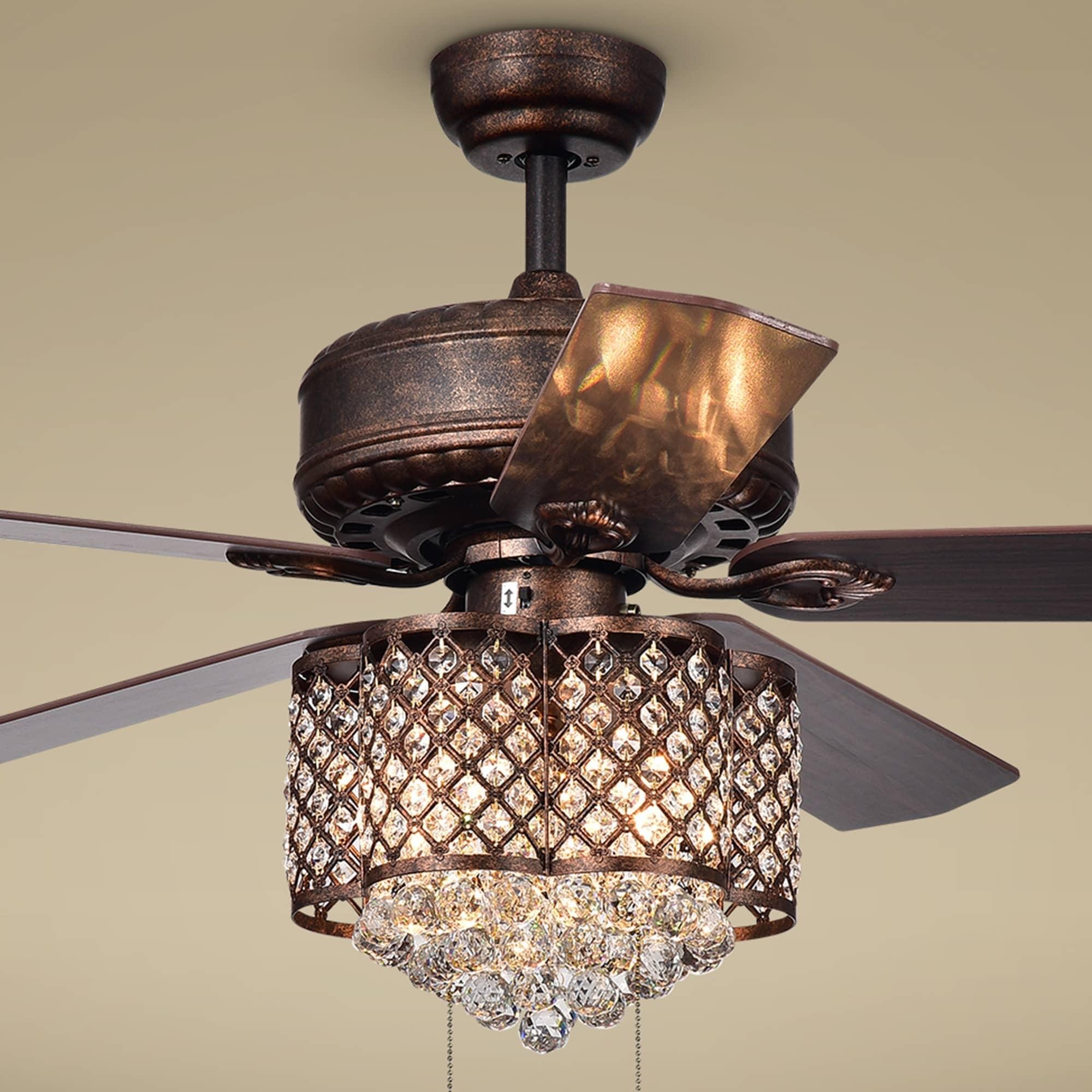 Pshita 3 light Crystal 5 blade 52 inch Rustic Bronze Ceiling Fan