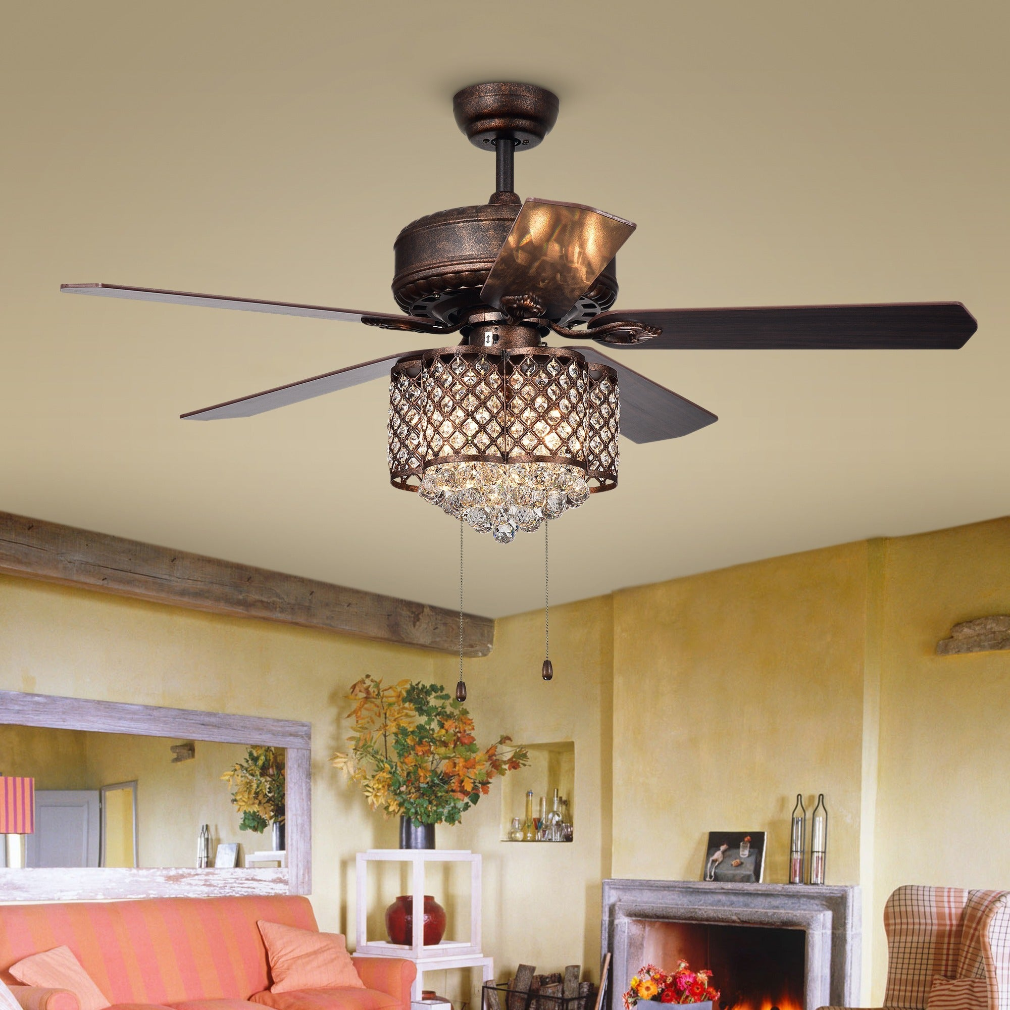Pshita 3 light Crystal 5 blade 52 inch Rustic Bronze Ceiling Fan