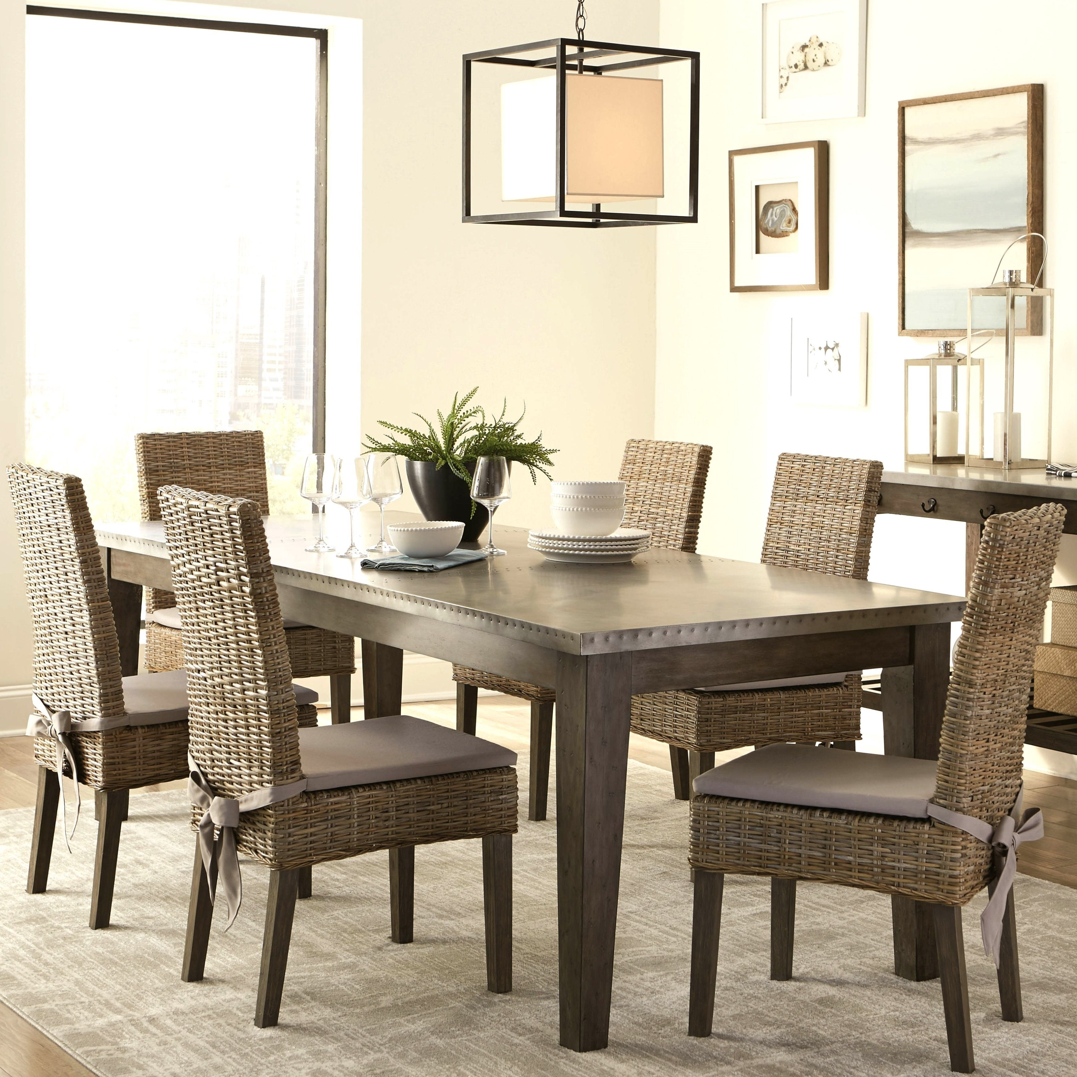 Rustic Industrial Design Metal Top Dining Set With Rattan Chairs And  Kitchen Island Cart   Free Shipping Today   Overstock   26062637