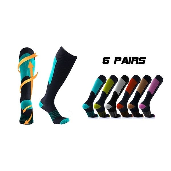 17dda77850424 Shop 6-Pairs : Unisex Copper-Infused Compression Socks - Free Shipping On  Orders Over $45 - Overstock - 20169775