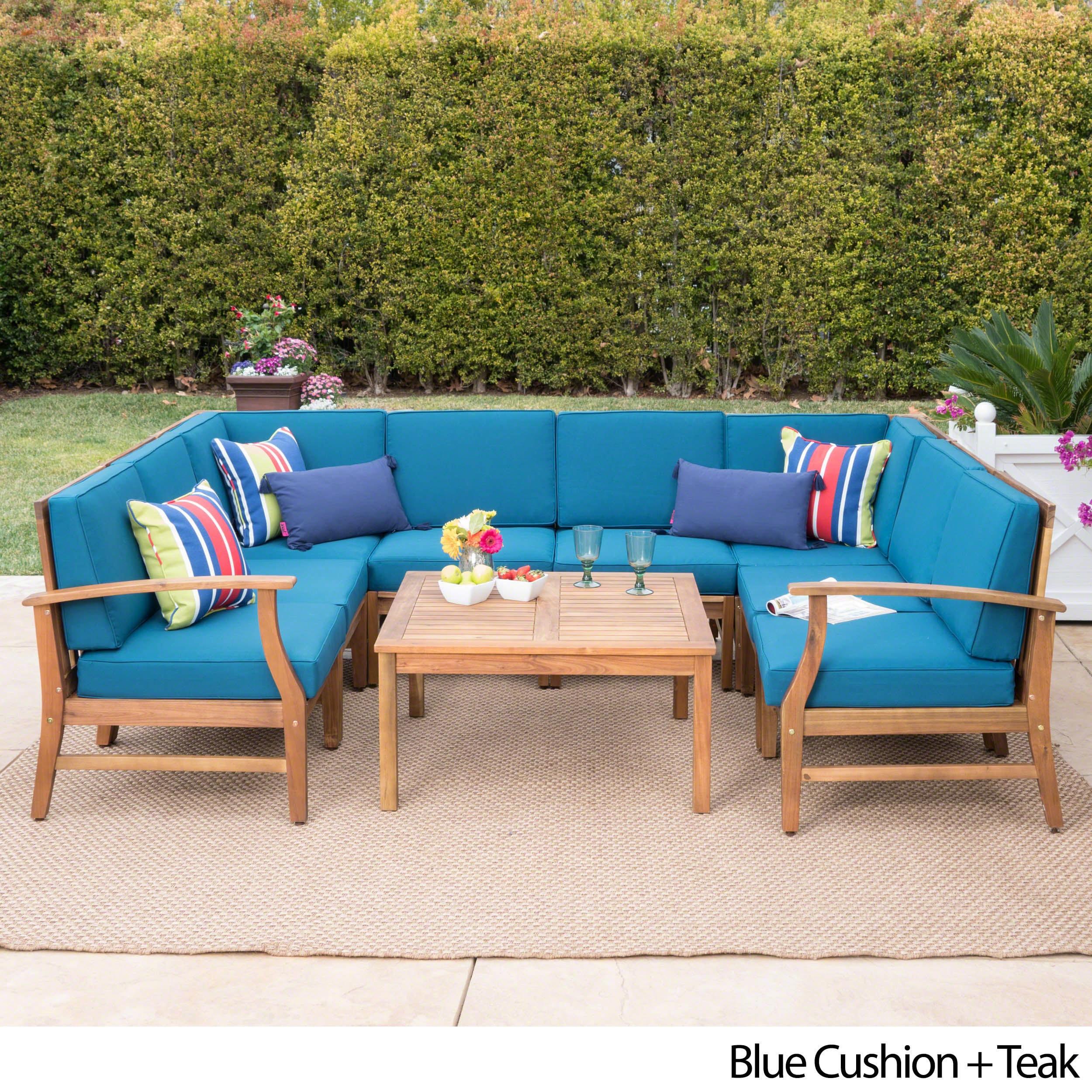 Shop Perla Outdoor Acacia Wood 9-piece Sectional Sofa Set with ...