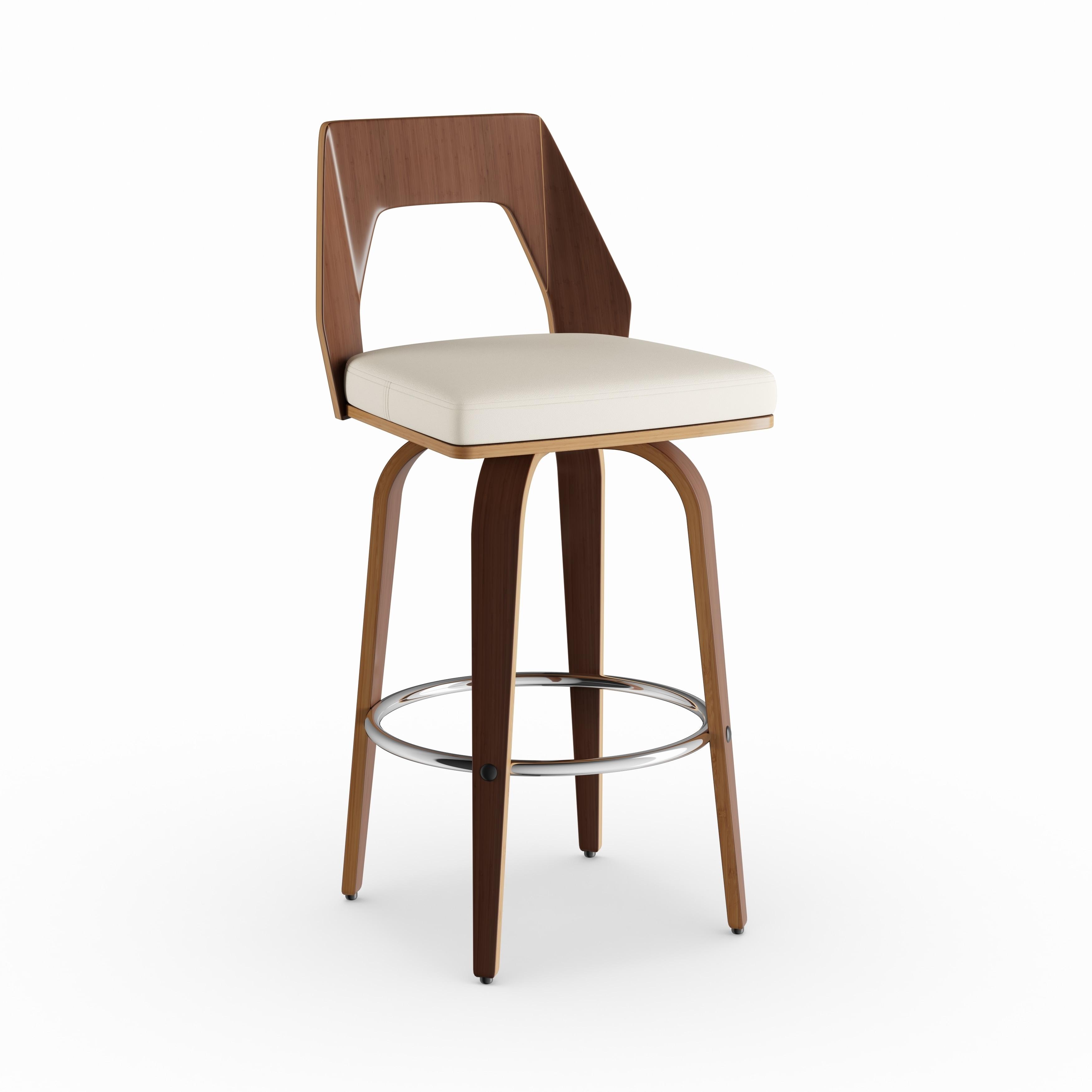 Shop strick bolton ross mid century modern walnut wood swivel bar stool on sale free shipping today overstock com 20170744