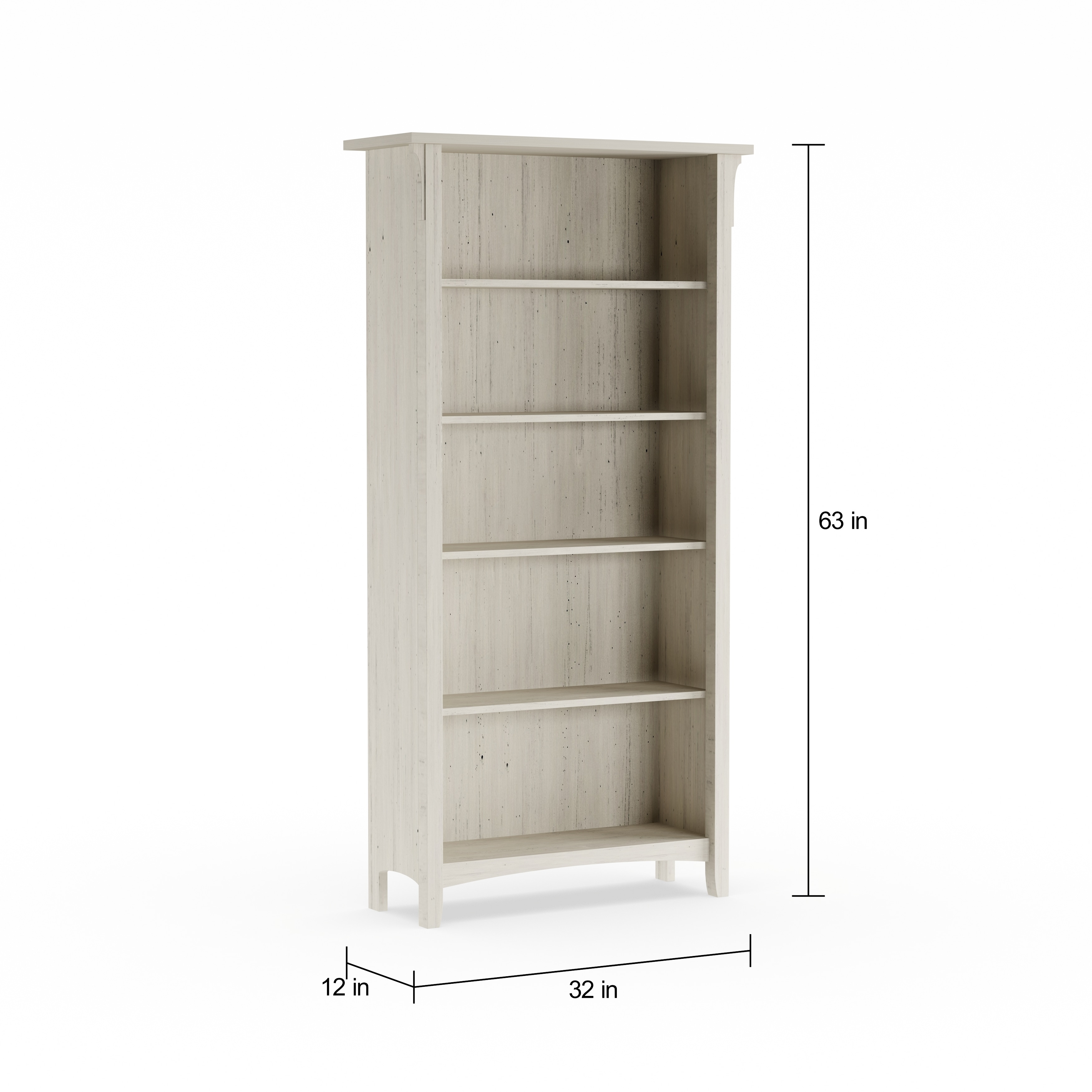 Maison Rouge Lucius 5 Shelf Bookcase In Antique White Free Shipping Today 20170859