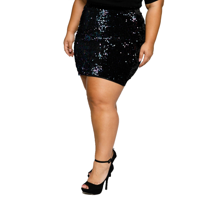 afb148032130 Shop Xehar Womens Plus Size Sequin Front Velvet Back Mini Skirt - Free  Shipping On Orders Over $45 - Overstock - 20170920