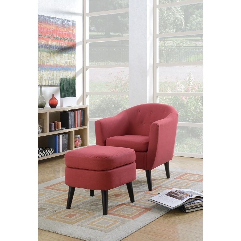 Polyfiber Accent Chair With Tail Ottoman Red Free Shipping Today 20173473