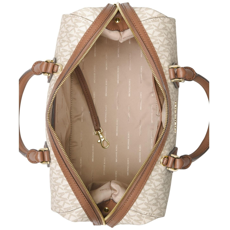 874d28cd590292 Shop Michael Kors Grayson Large Convertible Signature Vanilla Satchel  Handbag - Free Shipping Today - Overstock - 20175416
