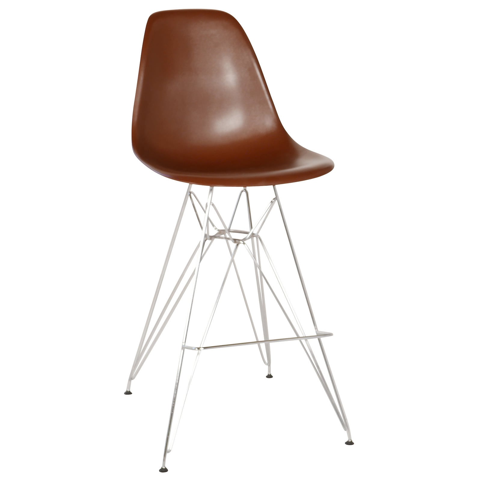 Mid Century Modern Retro Counter Stool With Chrome Eiffel Legs