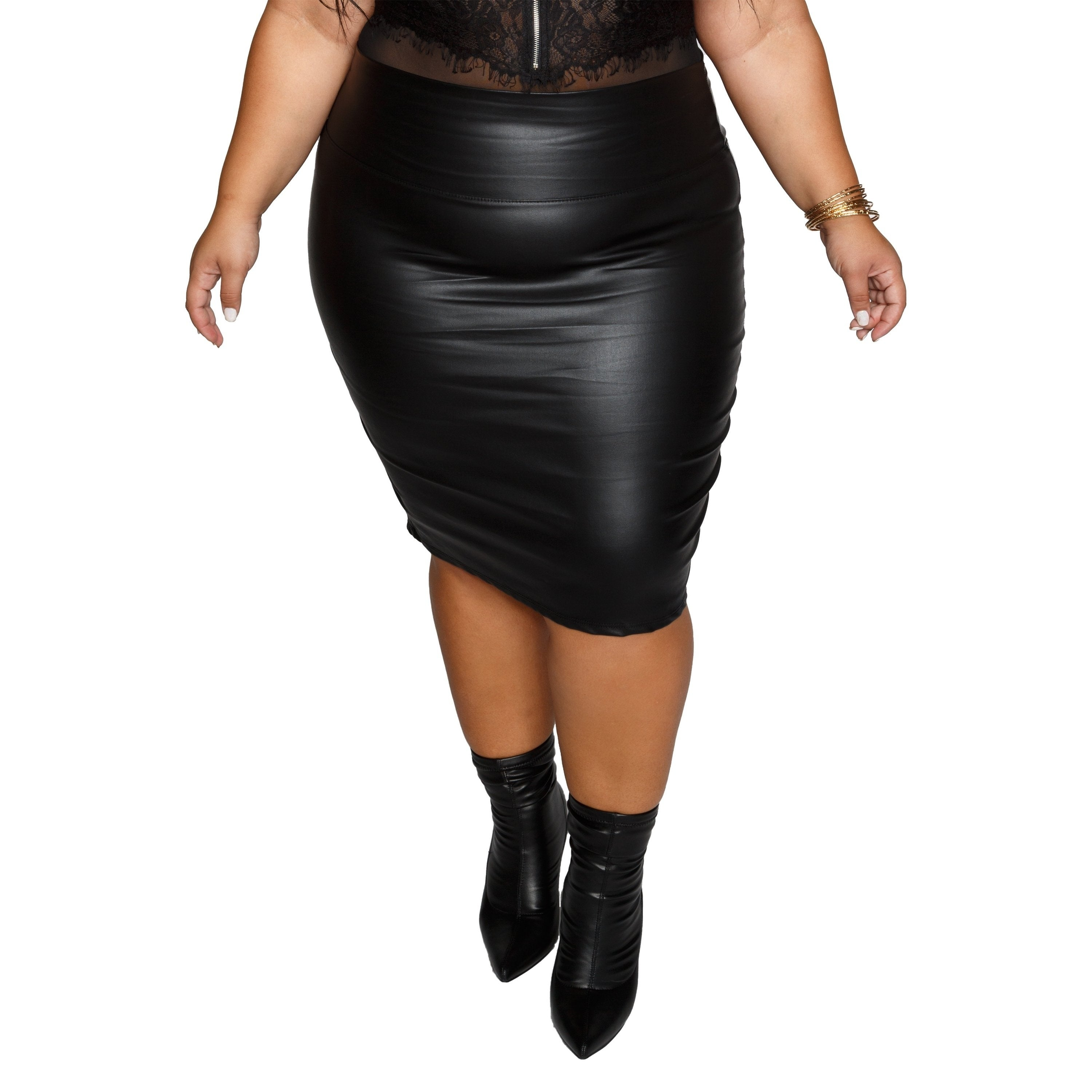 6872340abc9 Shop Xehar Womens Plus Size Faux Leather Midi Bodycon Slit Pencil Skirt -  Free Shipping On Orders Over  45 - Overstock - 20176131