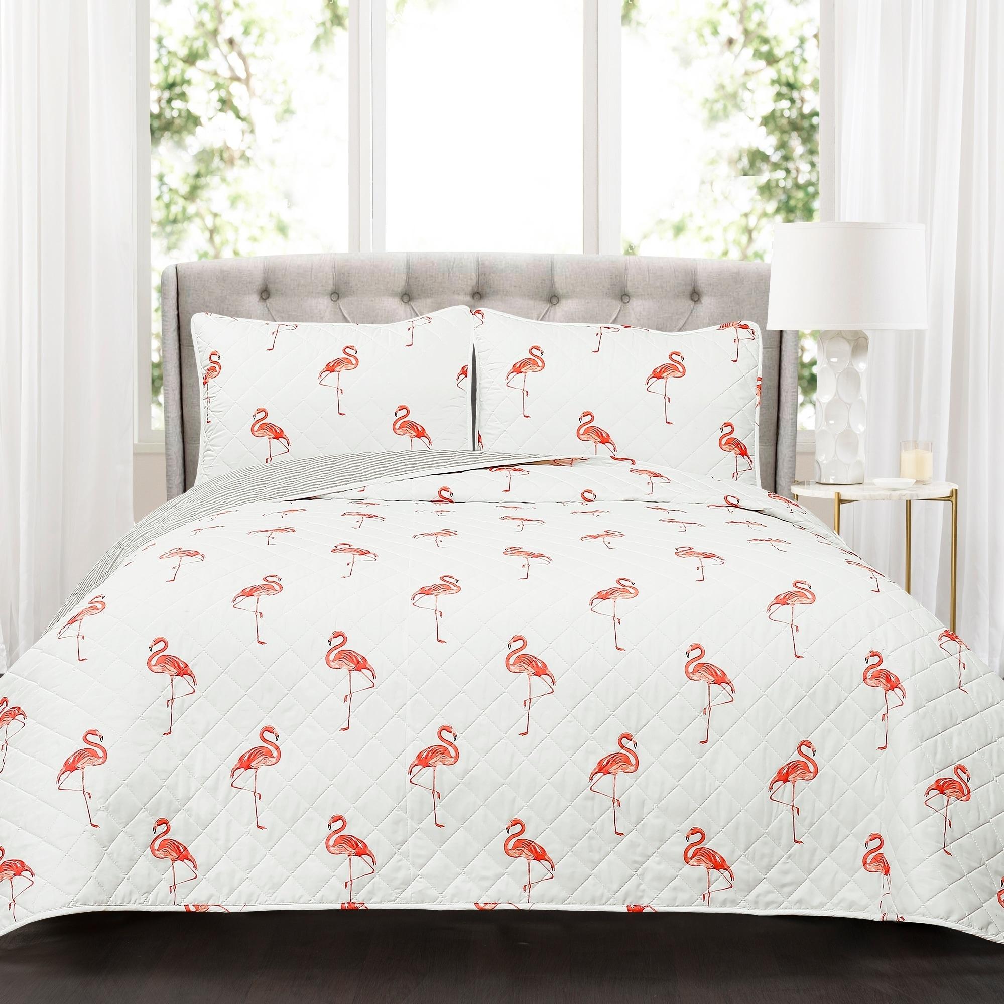 Flamingo Bedding Set 3 Piece Tropical Print Duvet Cover And Pillowcases Decor