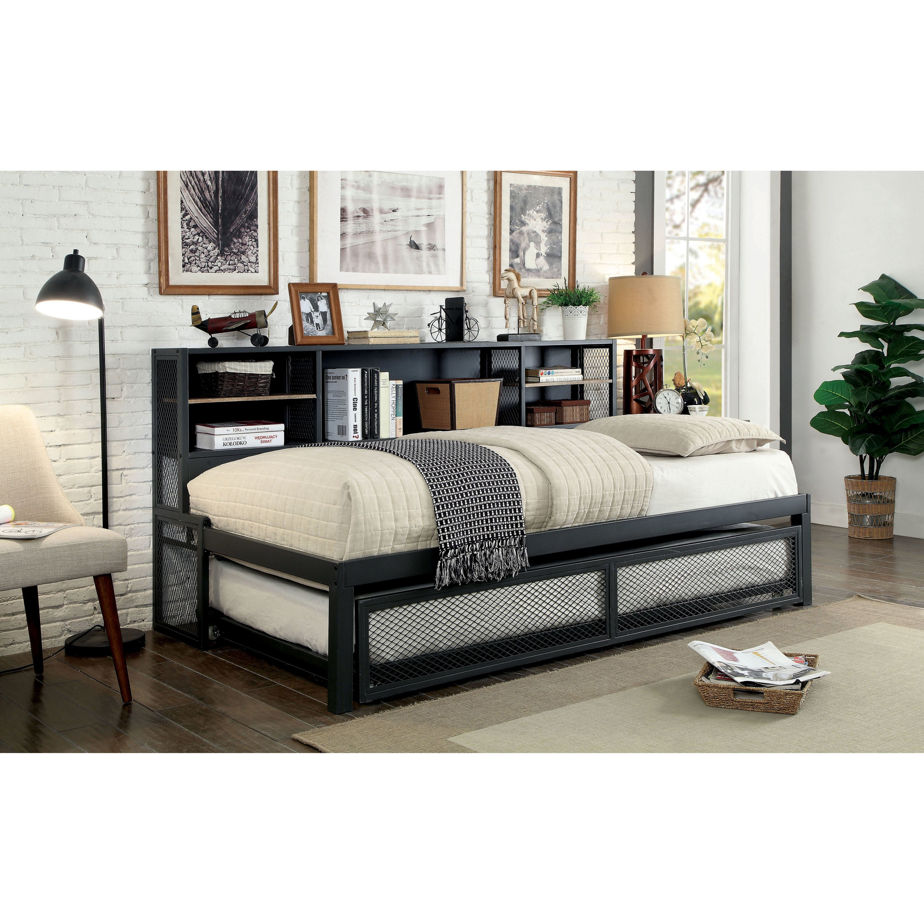 Shop Furniture Of America Ferno Industrial 2 Piece Gun Metal Twin Daybed Set With Trundle