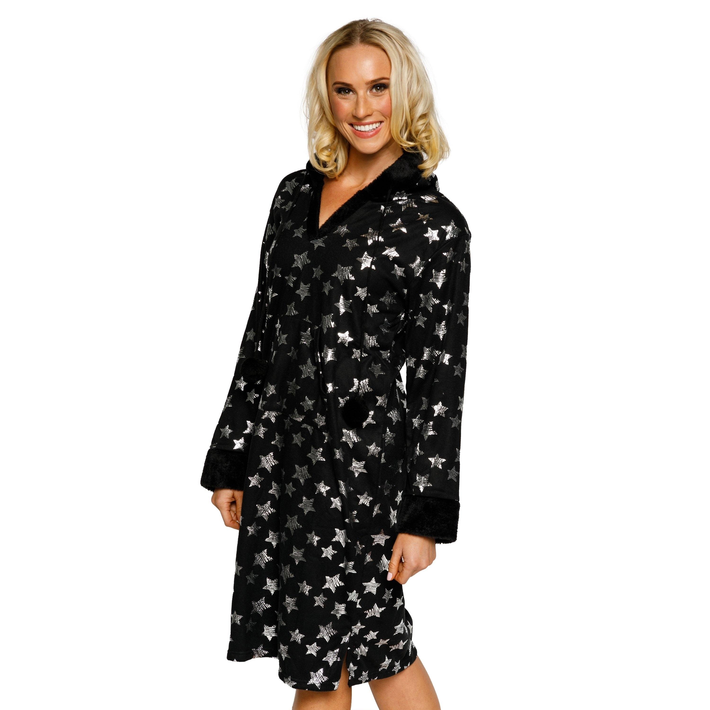 c1ee007a61 Shop Xehar Womens Metallic Star Print Hooded Nightshirt Pajama Sleepwear -  Free Shipping On Orders Over  45 - Overstock - 20179957
