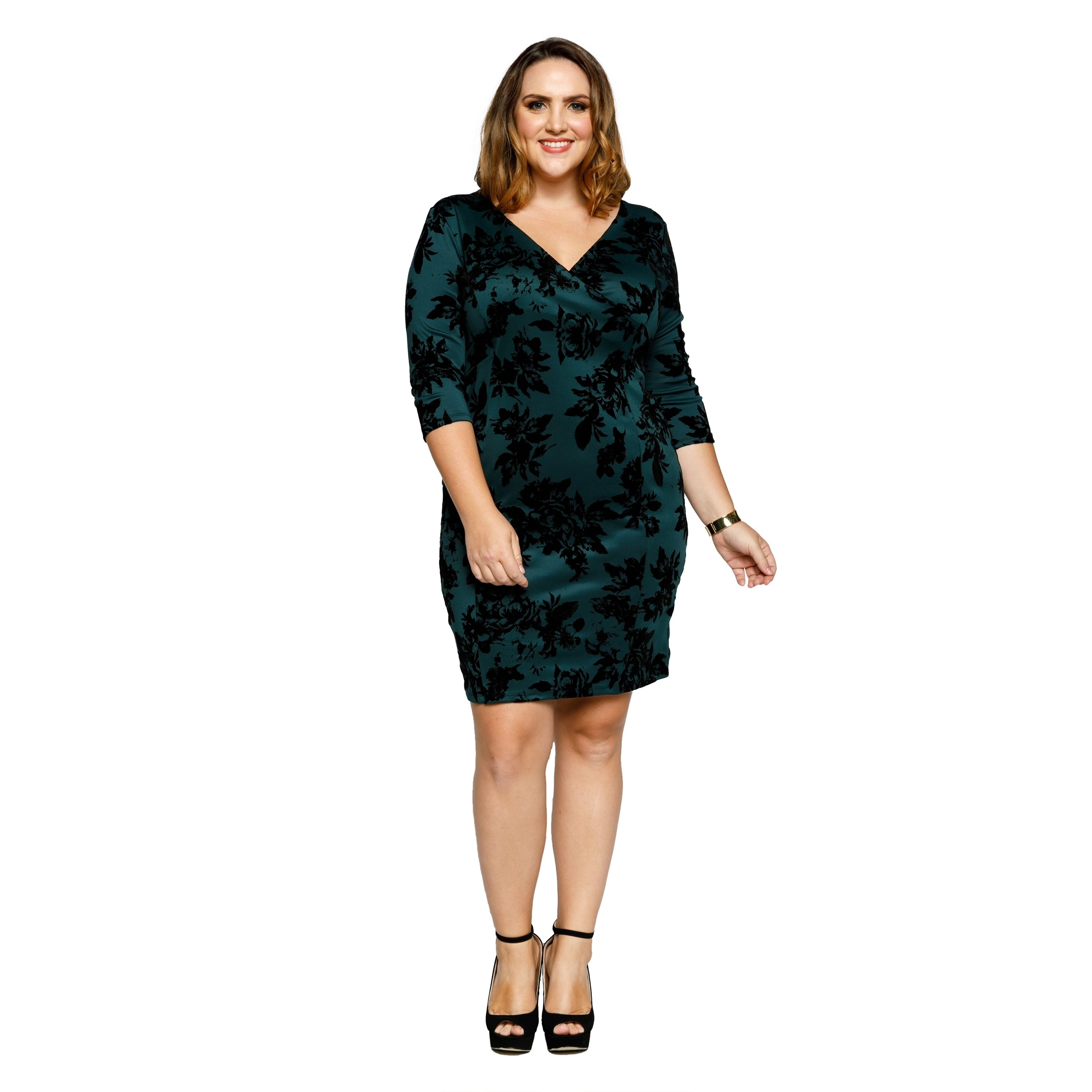 dec0a099ffa Shop Xehar Womens Plus Size Sexy Floral V-Neck 3 4 Sleeve Bodycon Dress -  On Sale - Free Shipping On Orders Over  45 - Overstock.com - 20179968