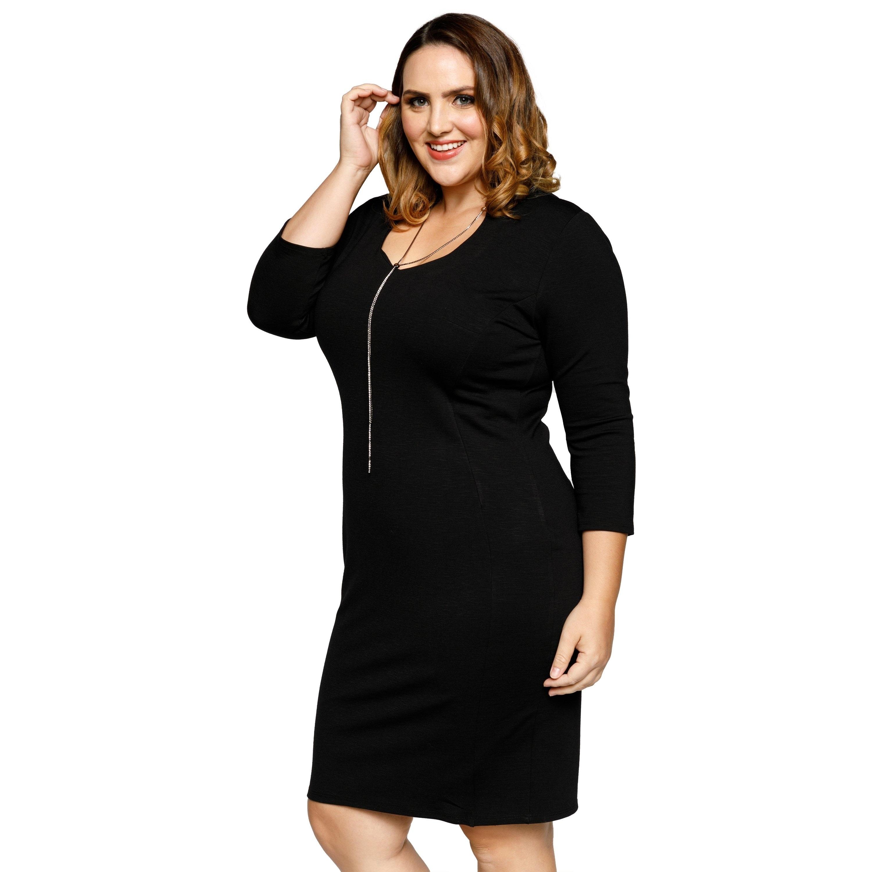 Shop Xehar Womens Plus Size Collared Scoop Neck 3/4 Sleeve Bodycon ...