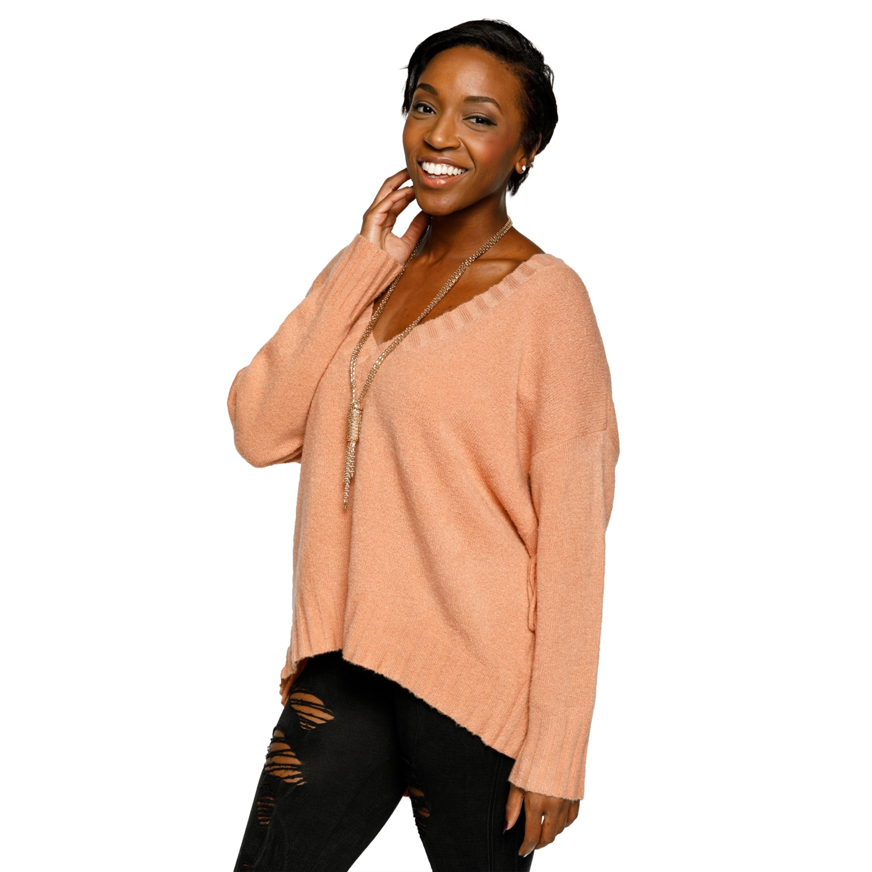 78a3b9250a Shop Xehar Womens Stylish V-Neck Pullover Lace Up Back Knit Sweater - Free  Shipping On Orders Over  45 - Overstock.com - 20180098