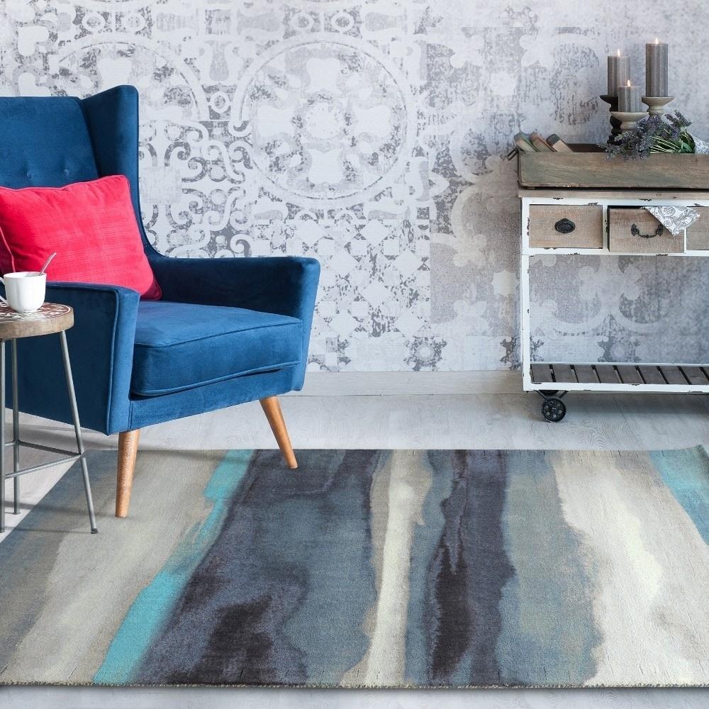 Shop RugSmith Blue Canvas Contemporary Modern Area Rug, 5\' x 7\' - 5 ...