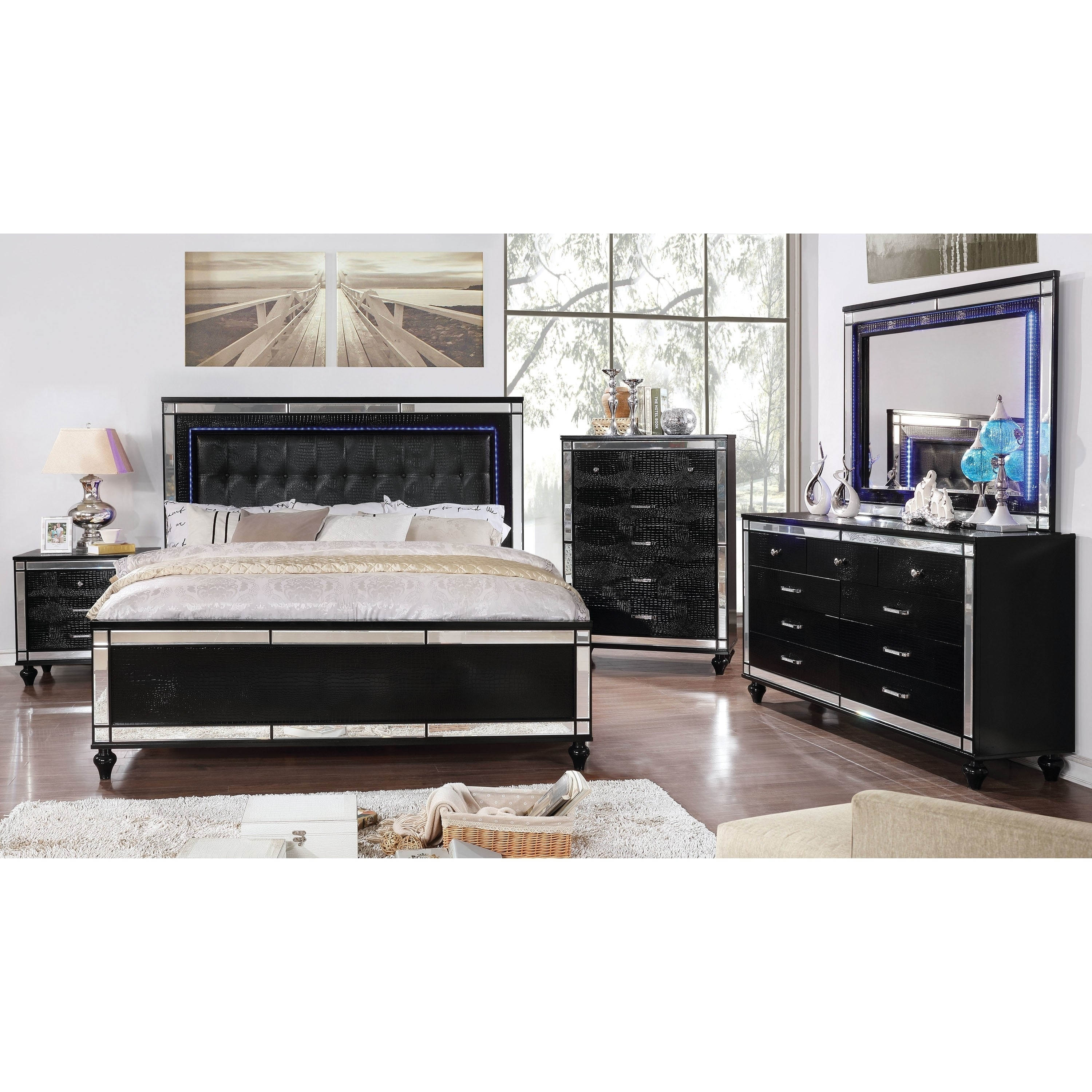 7af8c0ed2f09 Shop Petra Contemporary Tufted Bed with LED Trim by FOA - Ships To Canada -  Overstock - 20192640